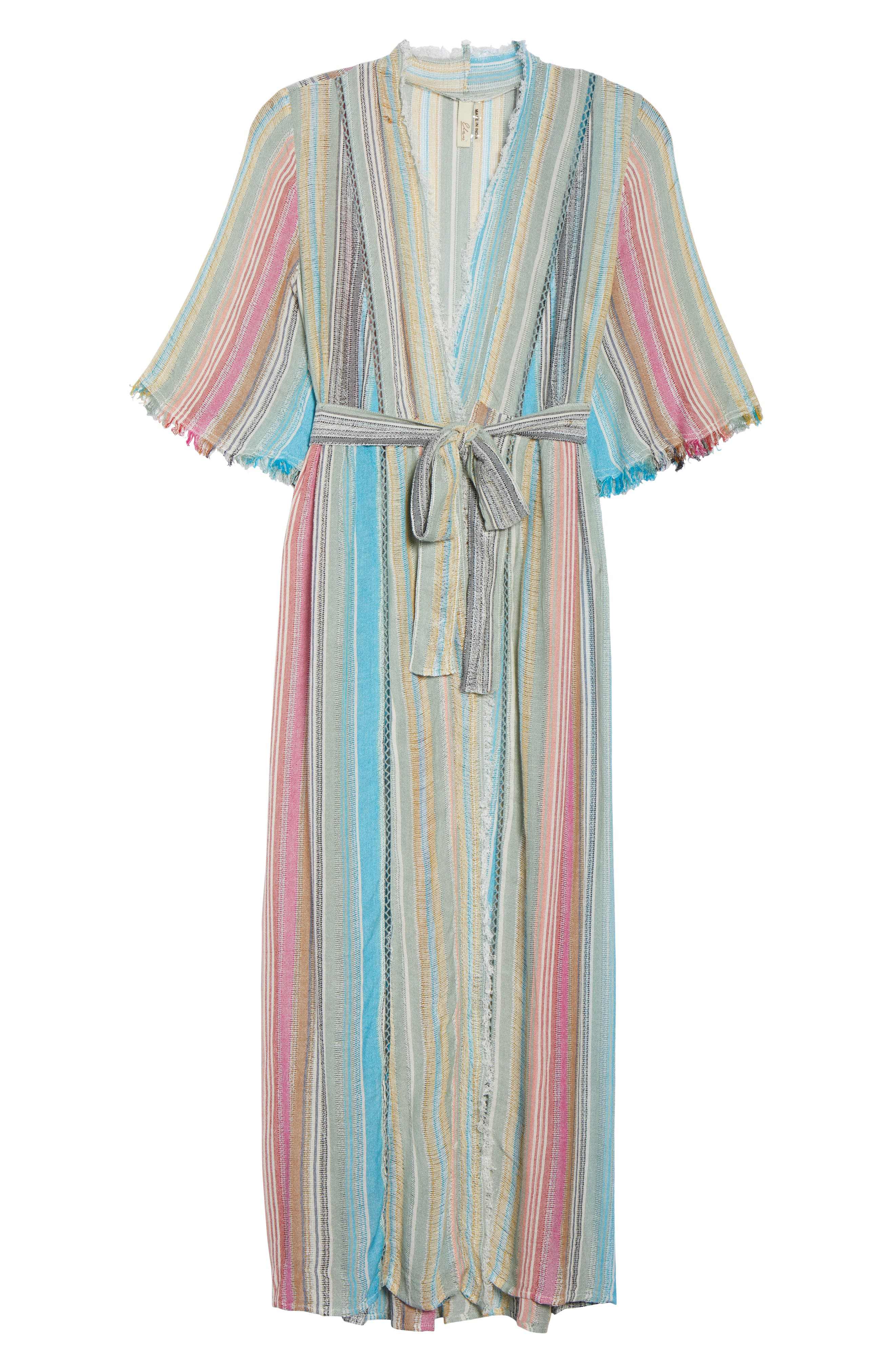 Tie Front Cover-Up Dress,                             Alternate thumbnail 6, color,                             MULTI STRIPE