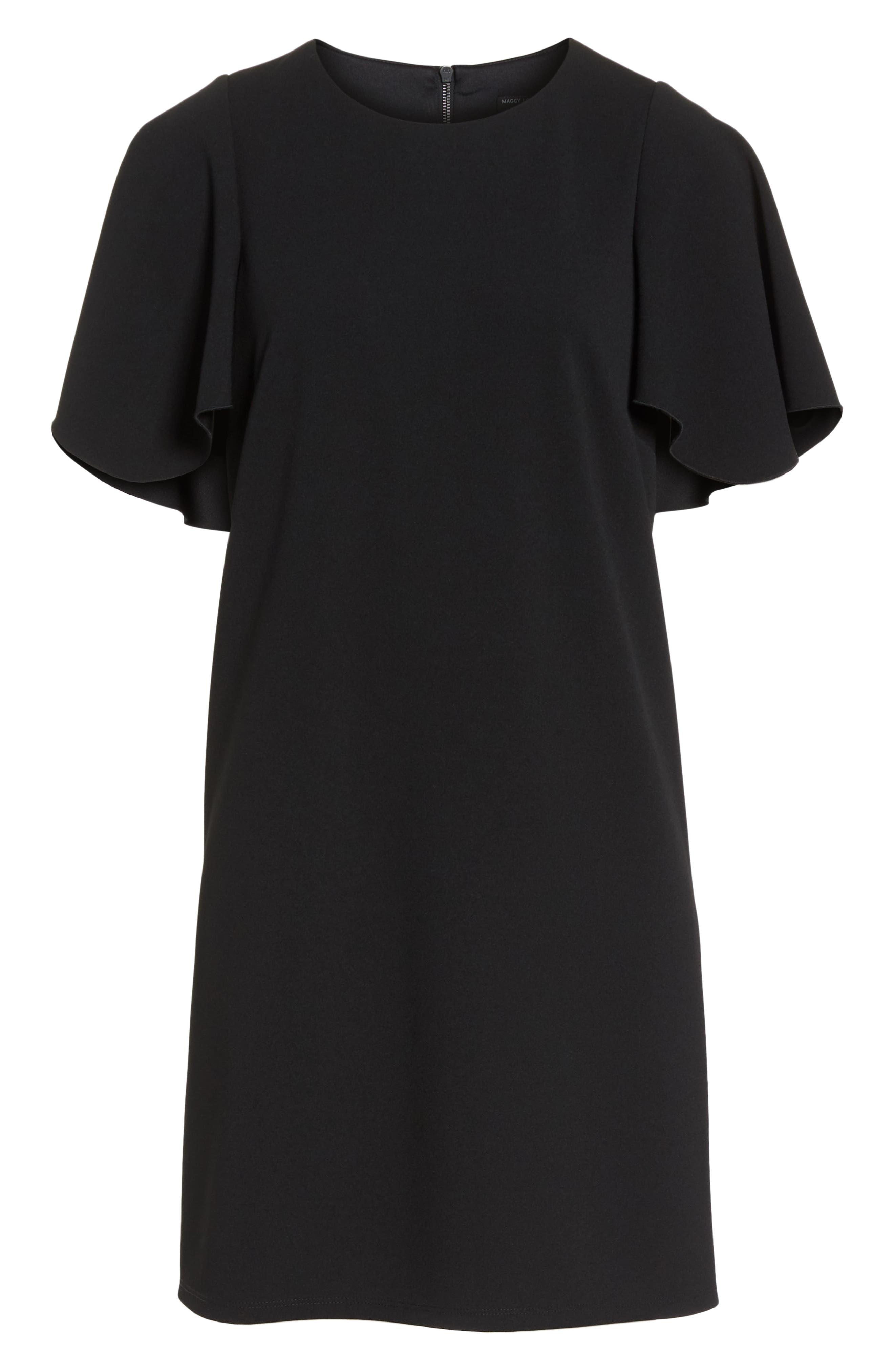 Flutter Sleeve Crepe Shift Dress,                             Alternate thumbnail 7, color,                             001