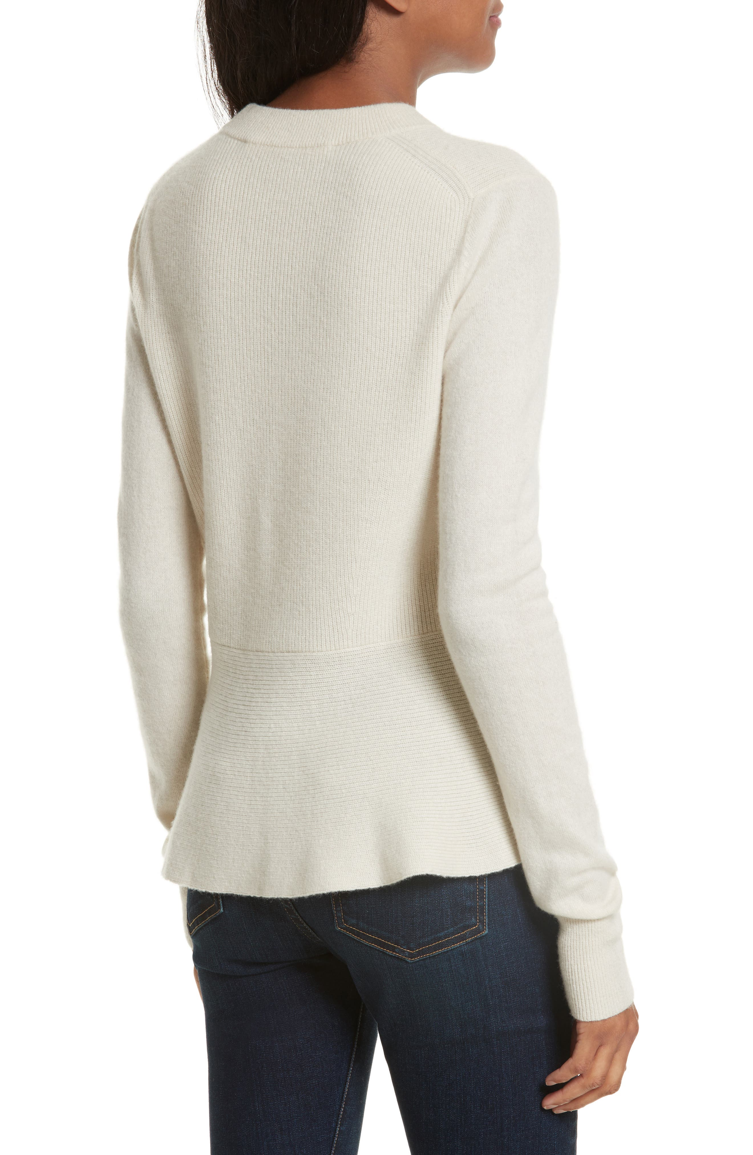 Raleigh Cashmere Peplum Sweater,                             Alternate thumbnail 6, color,