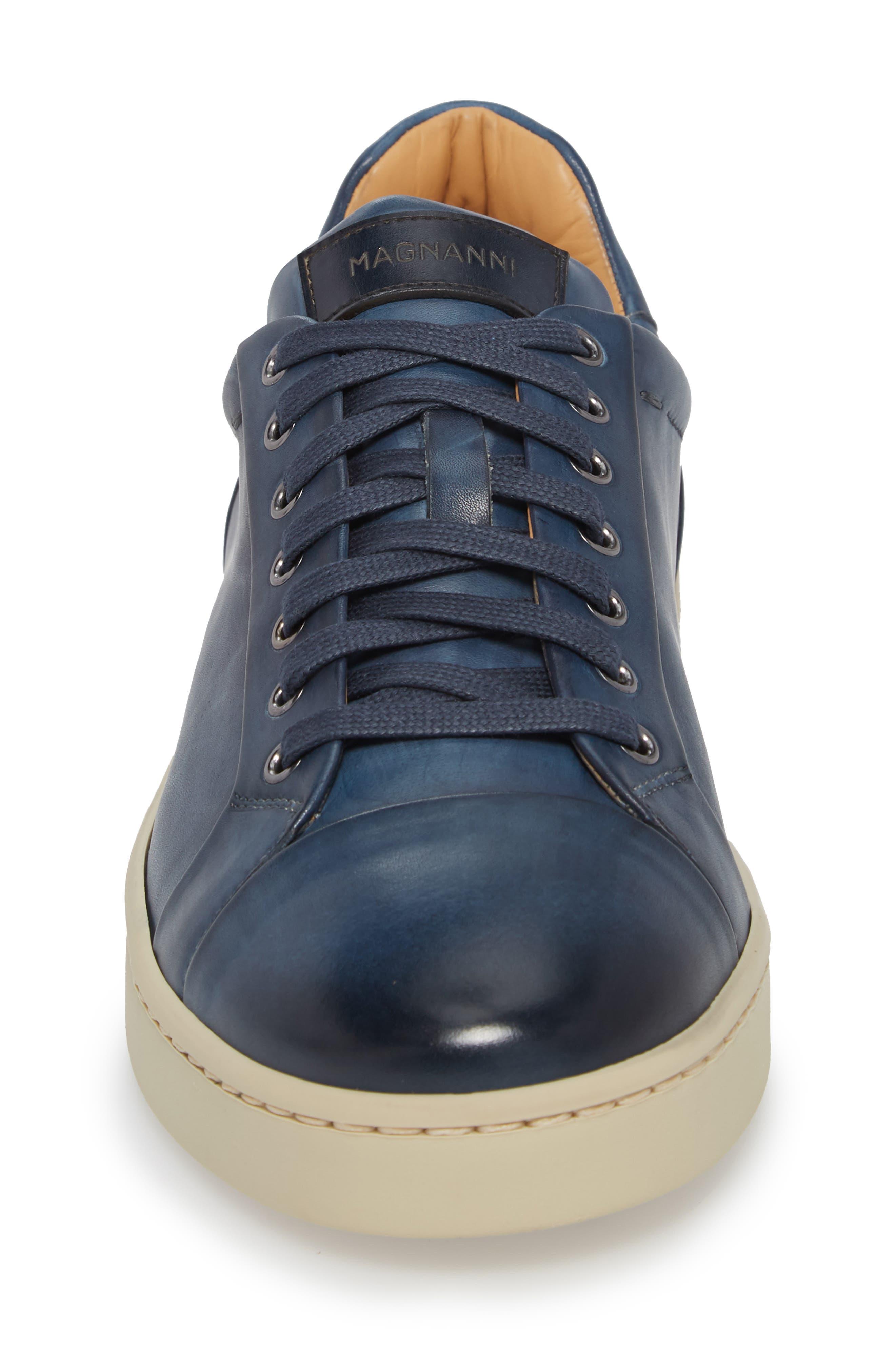 Erardo Low Top Sneaker,                             Alternate thumbnail 4, color,                             BLUE LEATHER