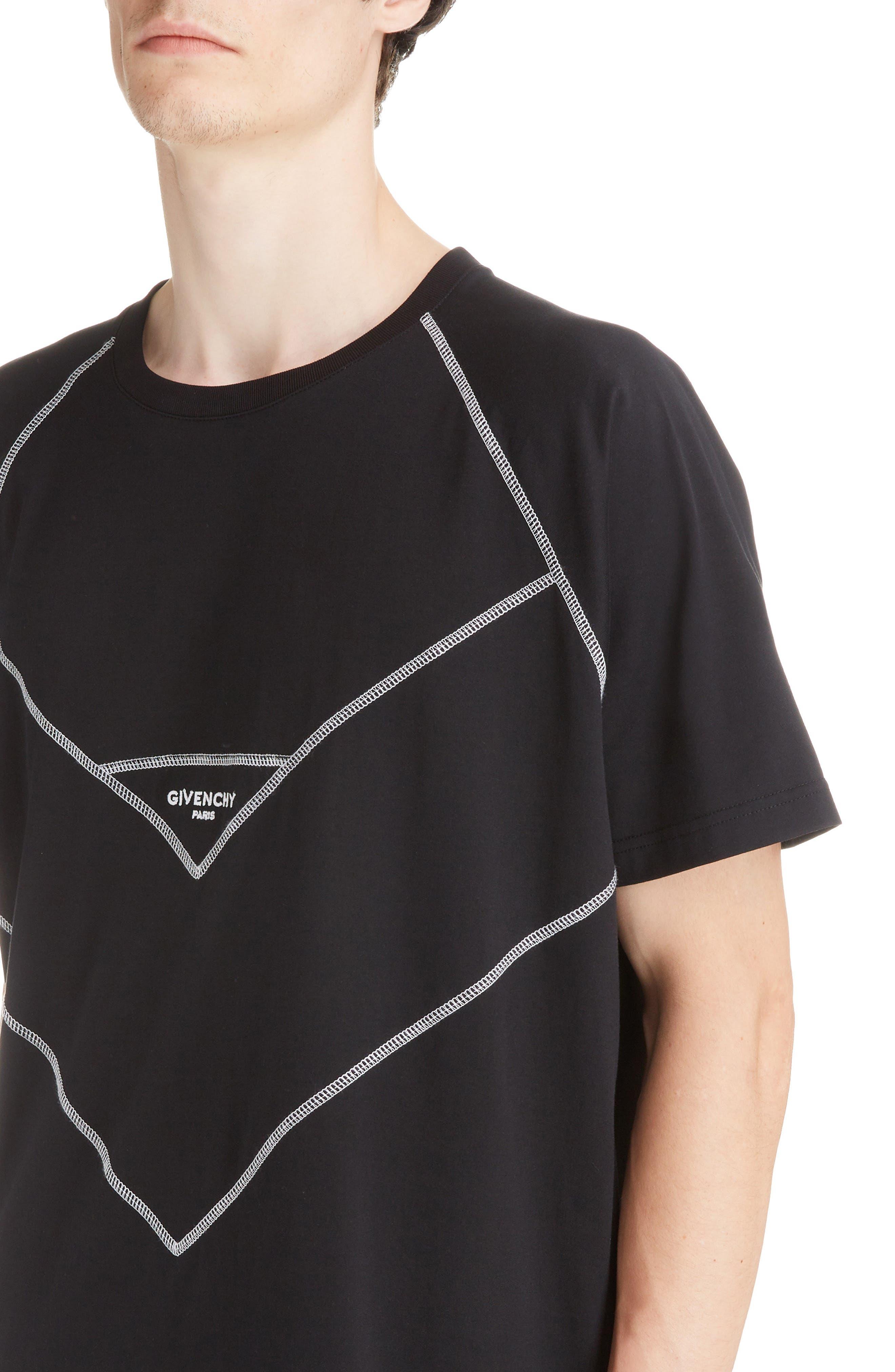 Chevron Stitch T-Shirt,                             Alternate thumbnail 4, color,                             BLACK