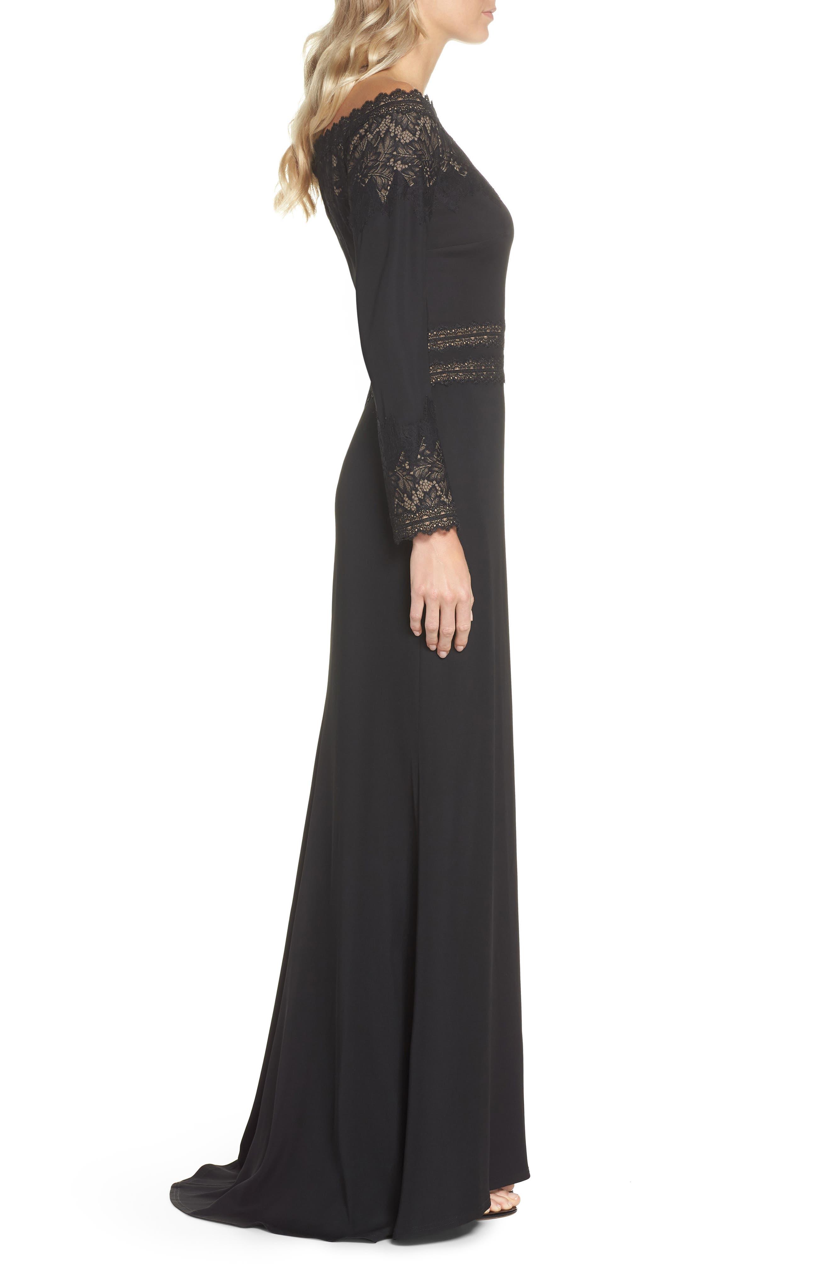 Lace & Crepe Gown,                             Alternate thumbnail 3, color,                             BLACK