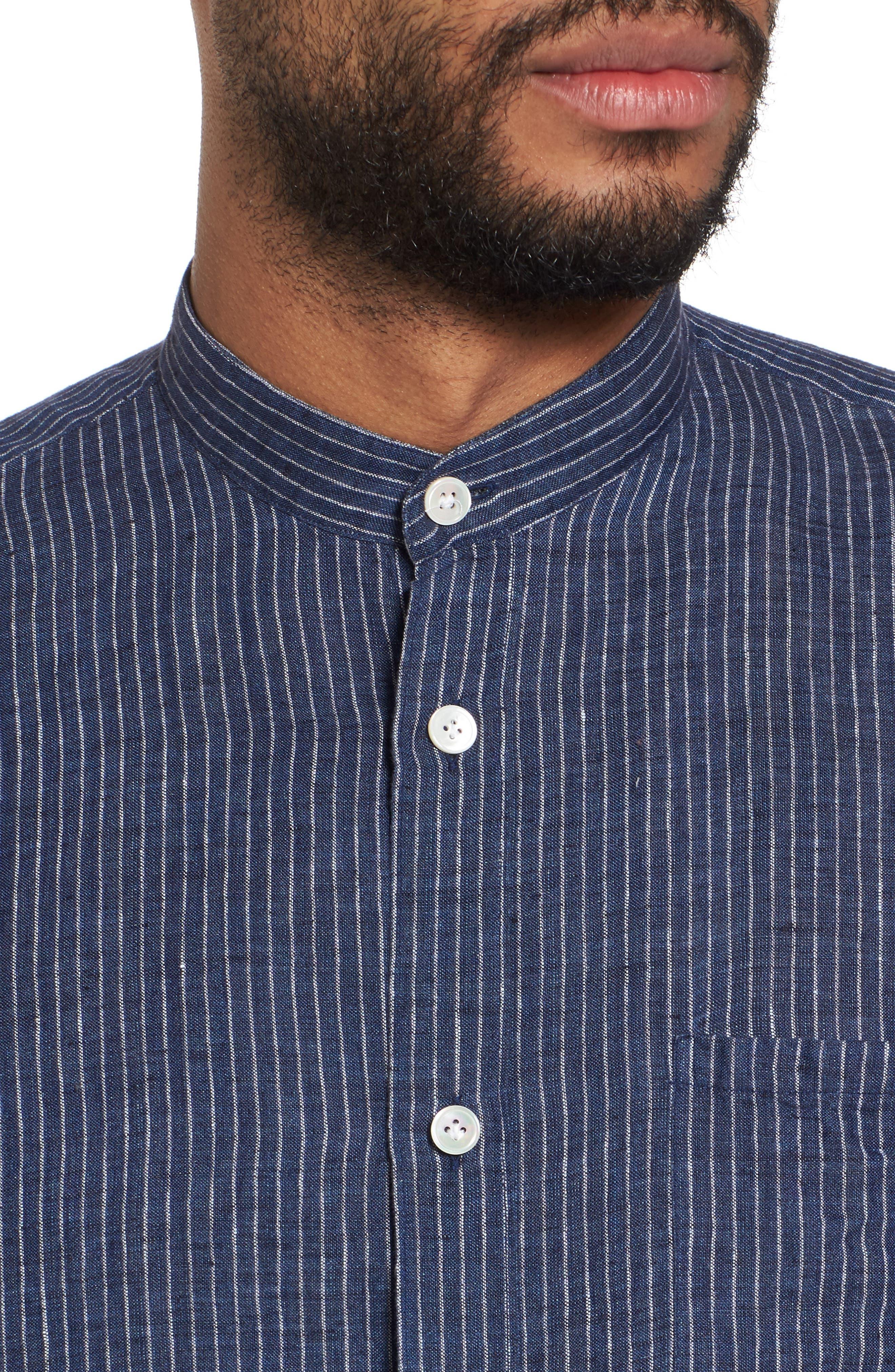 Railroad Stripe Linen Sport Shirt,                             Alternate thumbnail 4, color,                             410