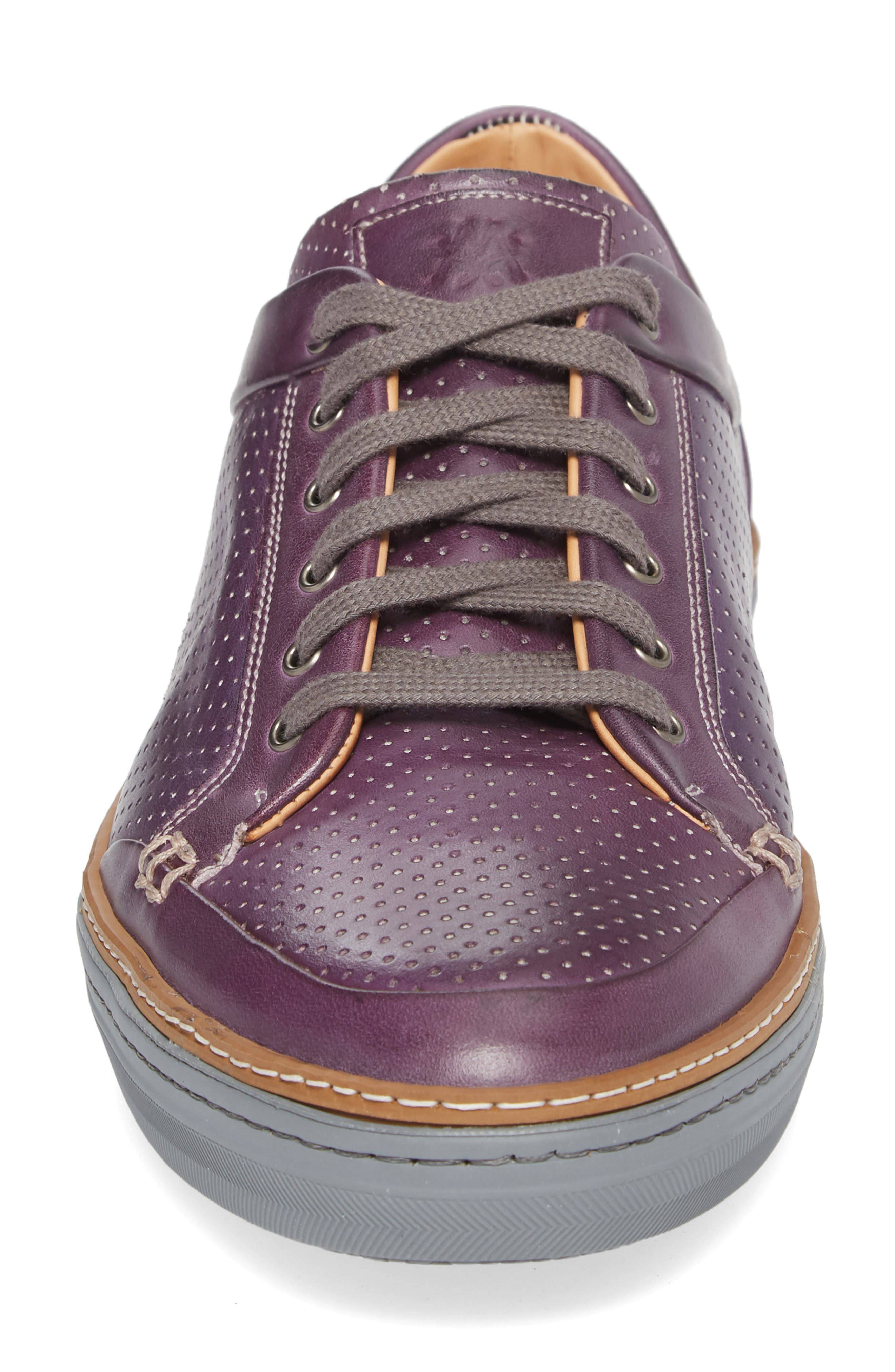 Ceres Perforated Low Top Sneaker,                             Alternate thumbnail 4, color,                             PURPLE LEATHER