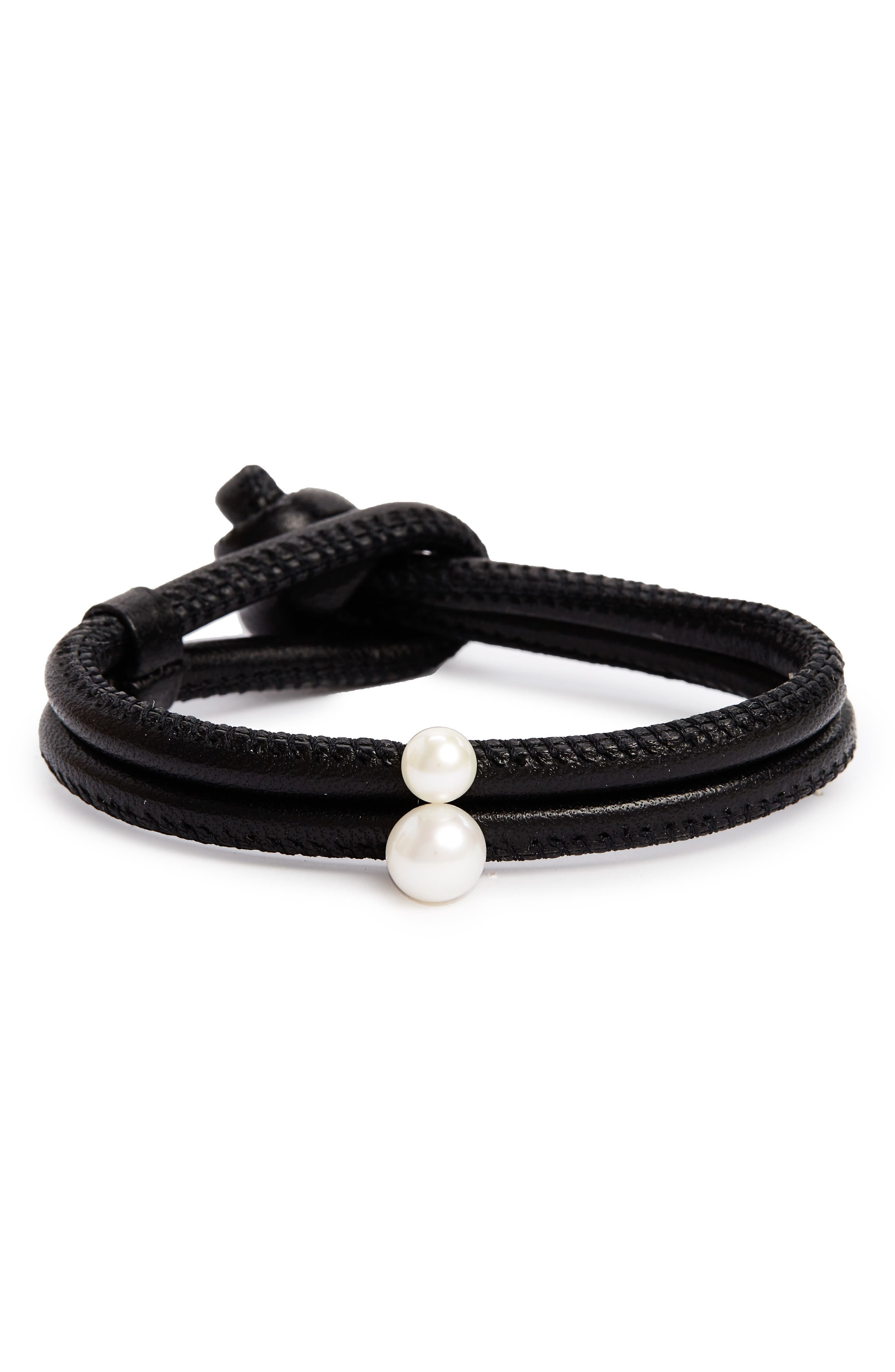 Leather & Akoya Pearl Bracelet,                             Main thumbnail 1, color,                             YELLOW GOLD/ WHITE PEARL
