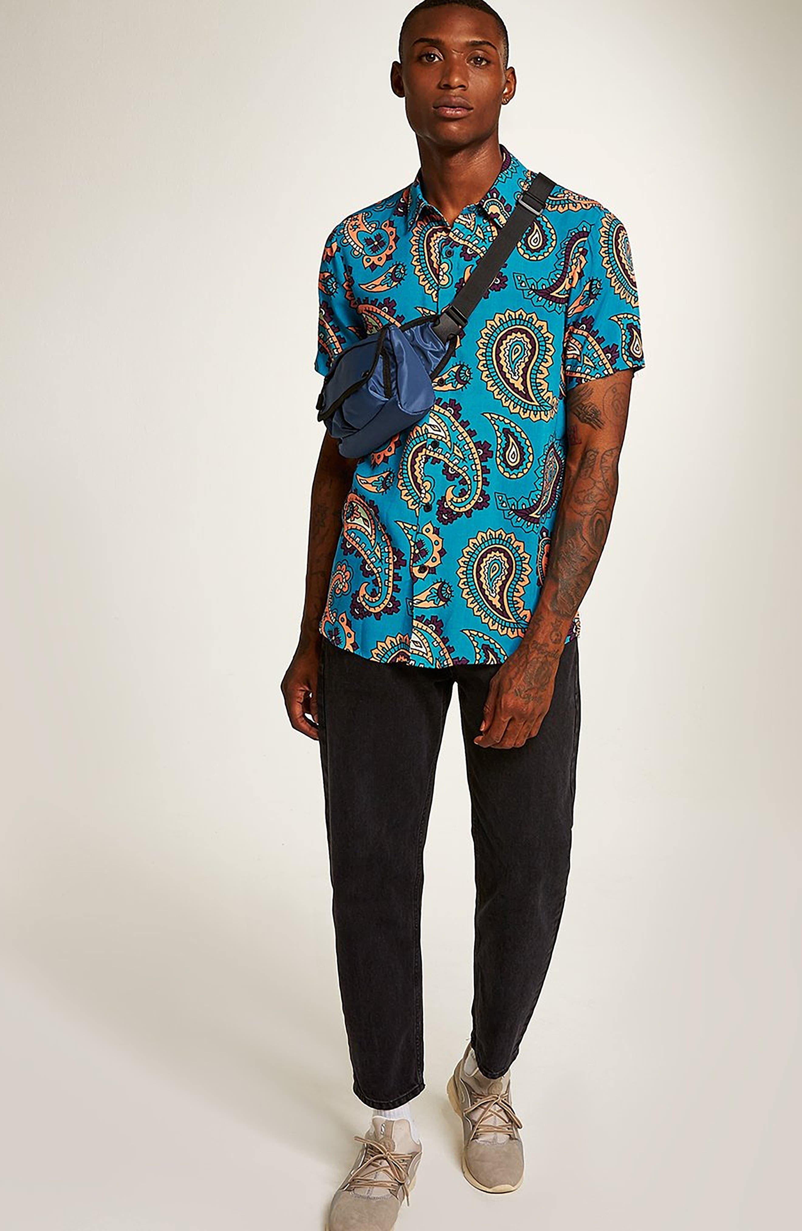 Paisley Woven Shirt,                             Alternate thumbnail 5, color,                             BLUE MULTI