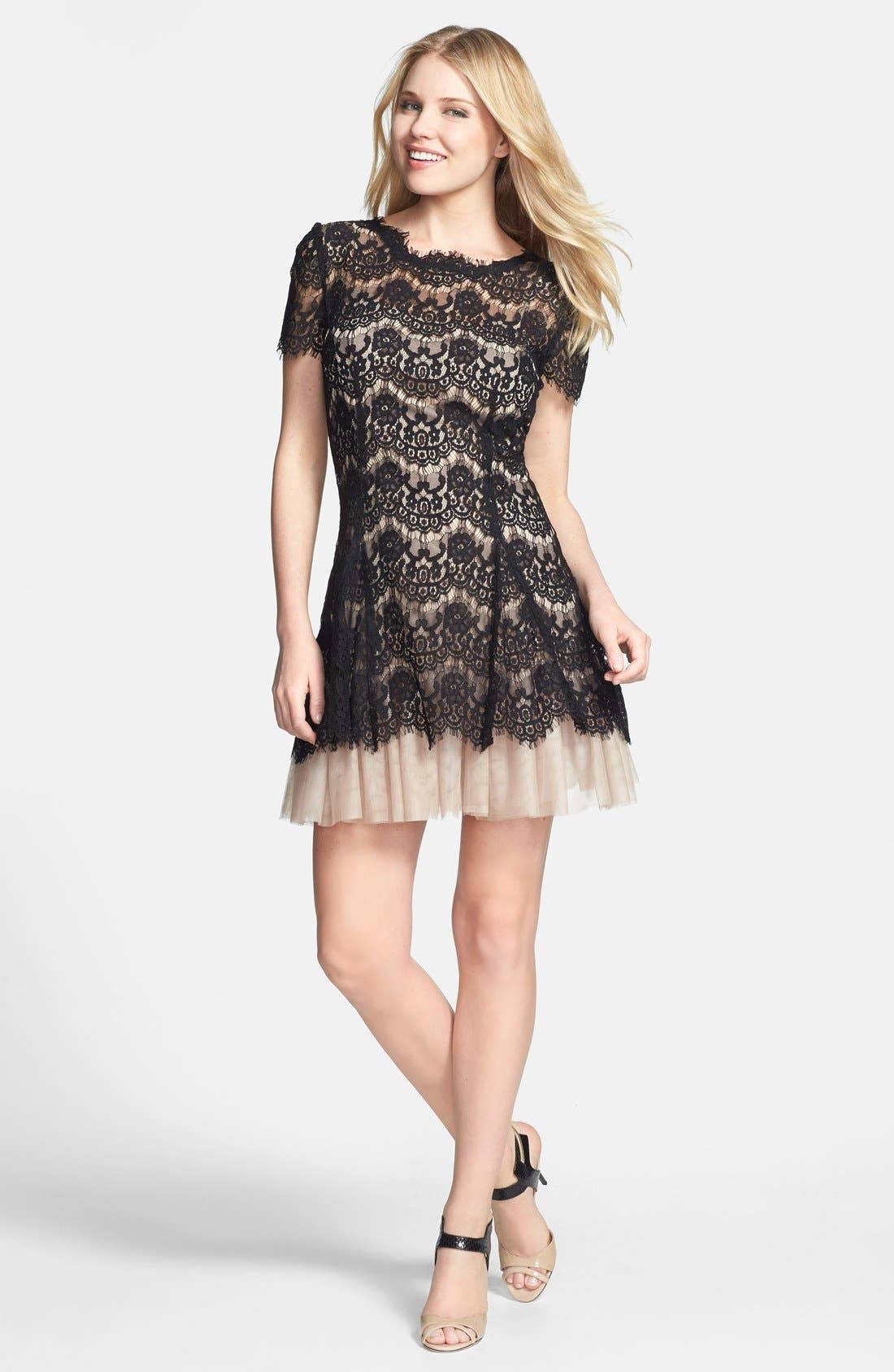 BETSY & ADAM,                             Short Sleeve Lace Fit & Flare Dress,                             Alternate thumbnail 2, color,                             001