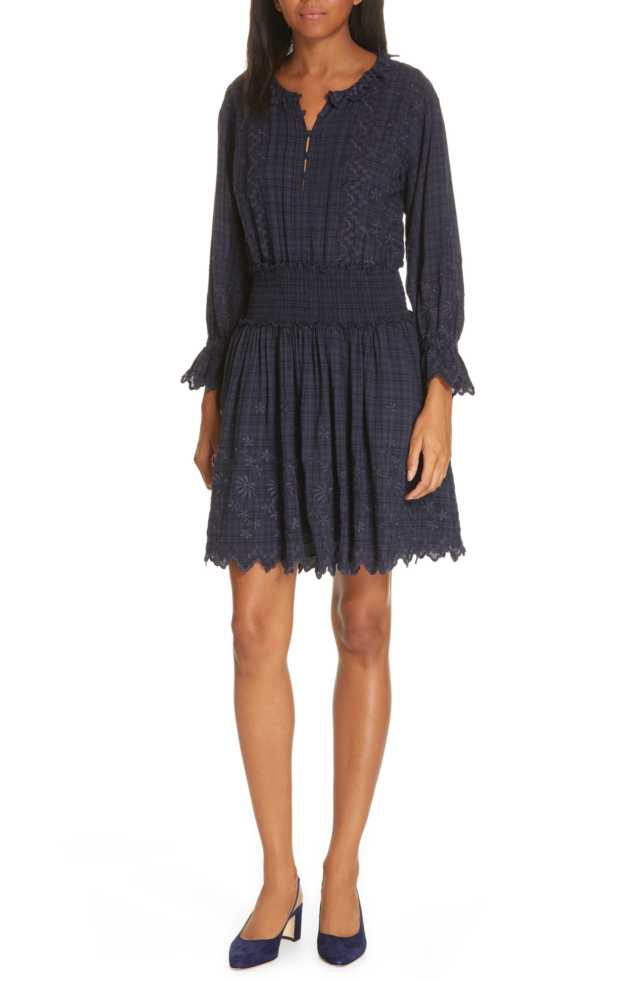 La Vie Rebecca Taylor Embroidered Check Print Dress, Blue