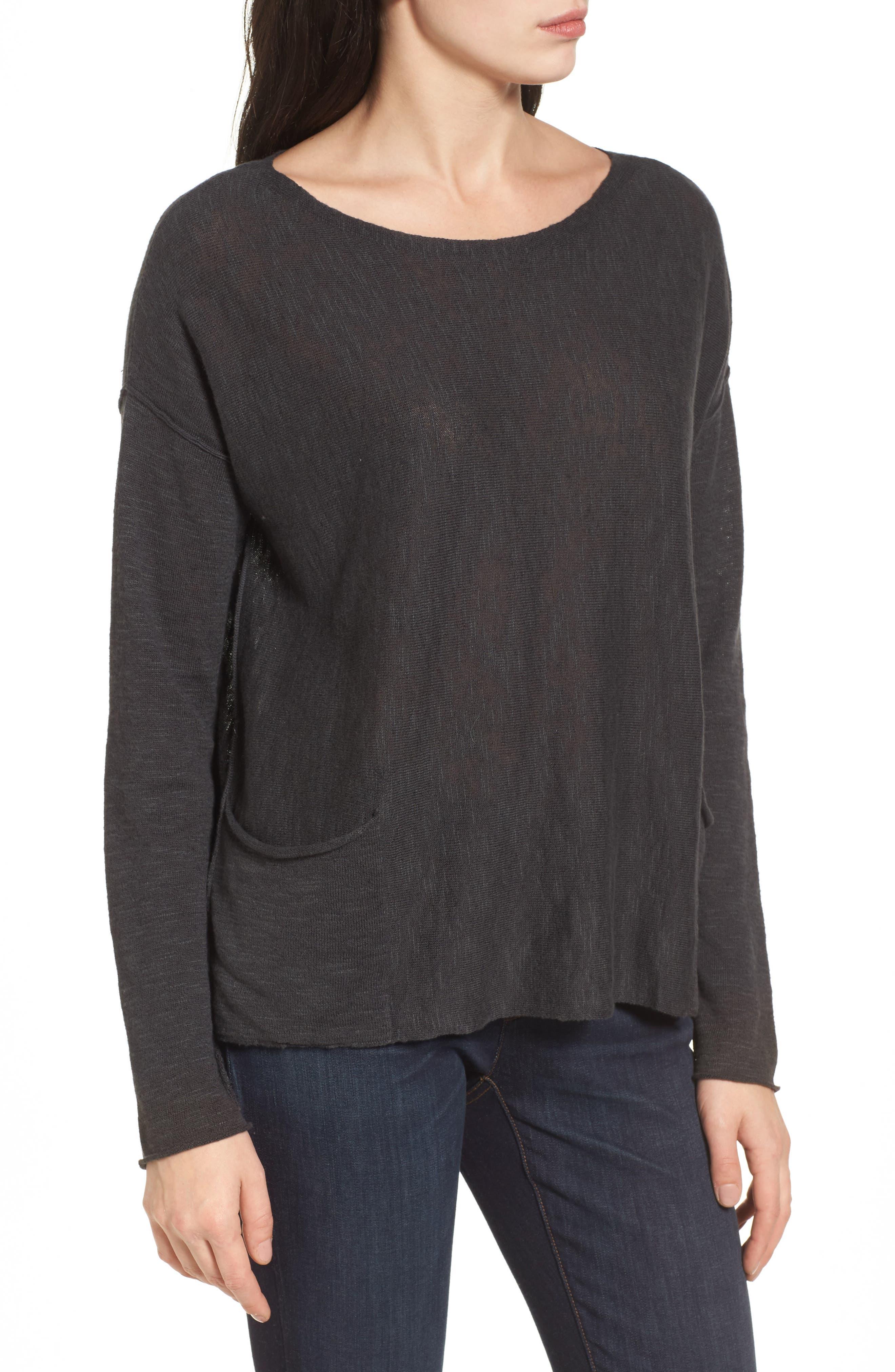 Organic Linen & Cotton Knit Boxy Top,                             Alternate thumbnail 3, color,                             021
