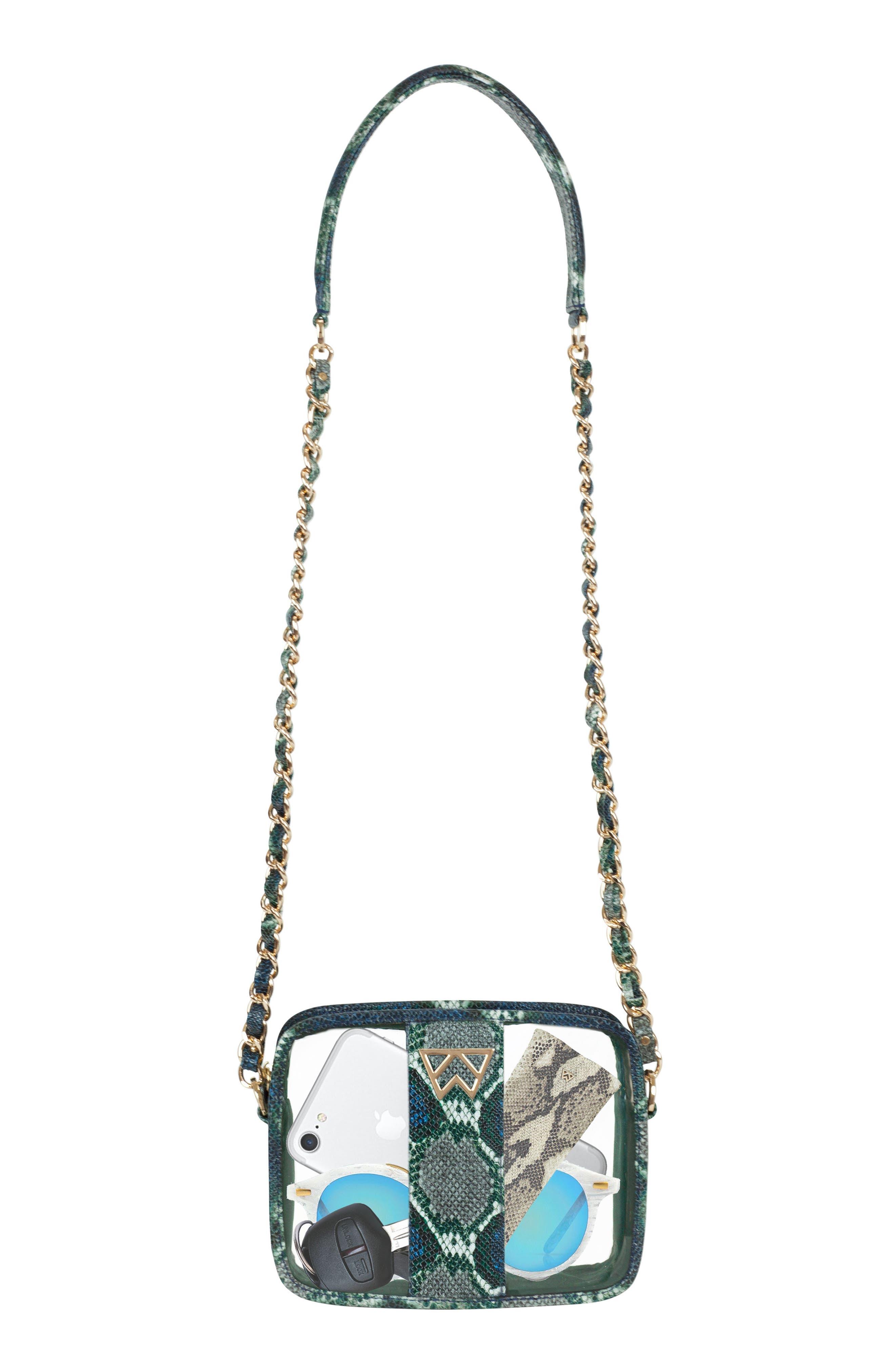 Clear Mingle Mingle Mini Crossbody Bag,                             Alternate thumbnail 4, color,                             GREEN MULTI PYTHON