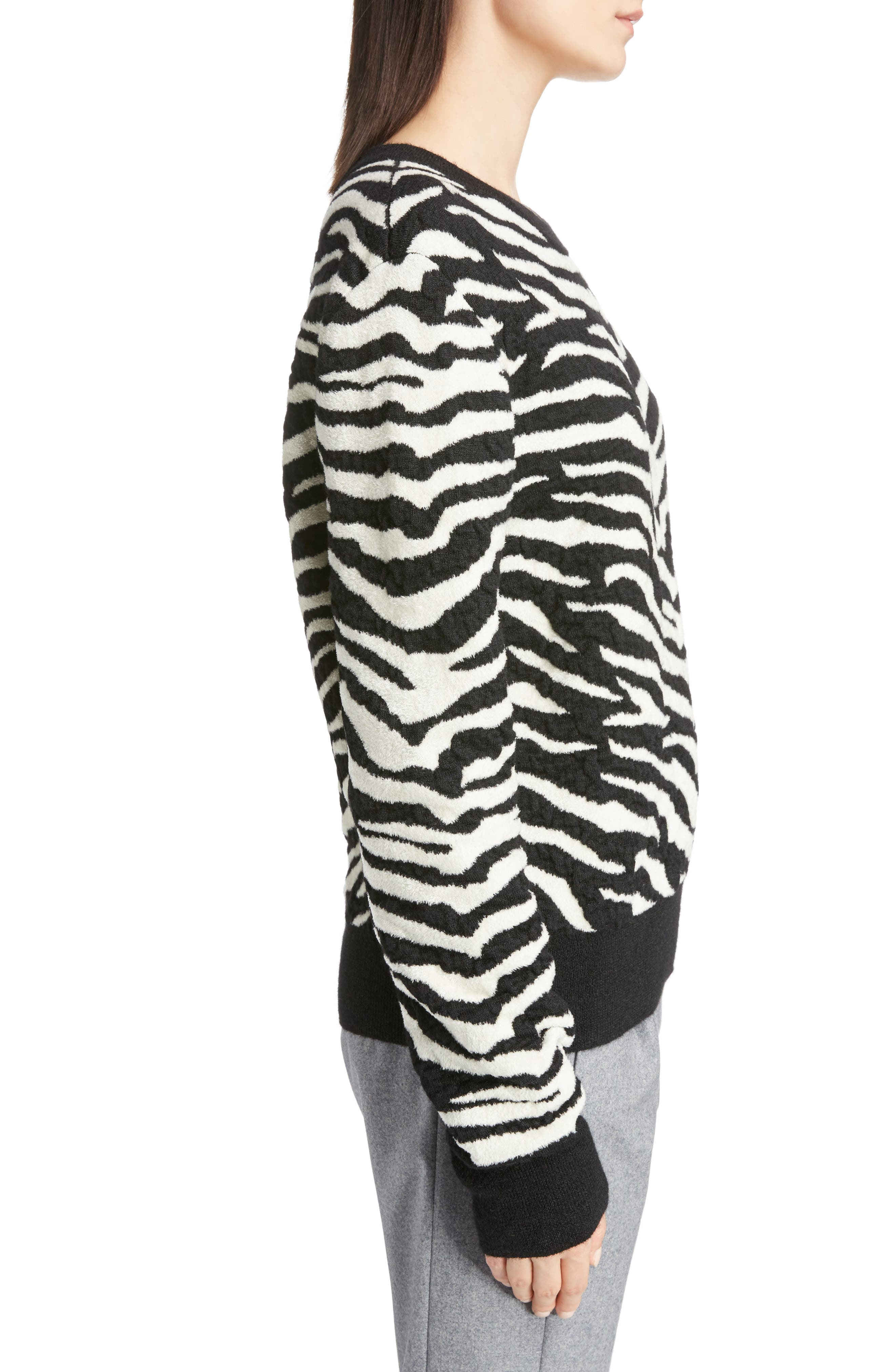 Tiger Knit Sweater,                             Alternate thumbnail 3, color,                             001