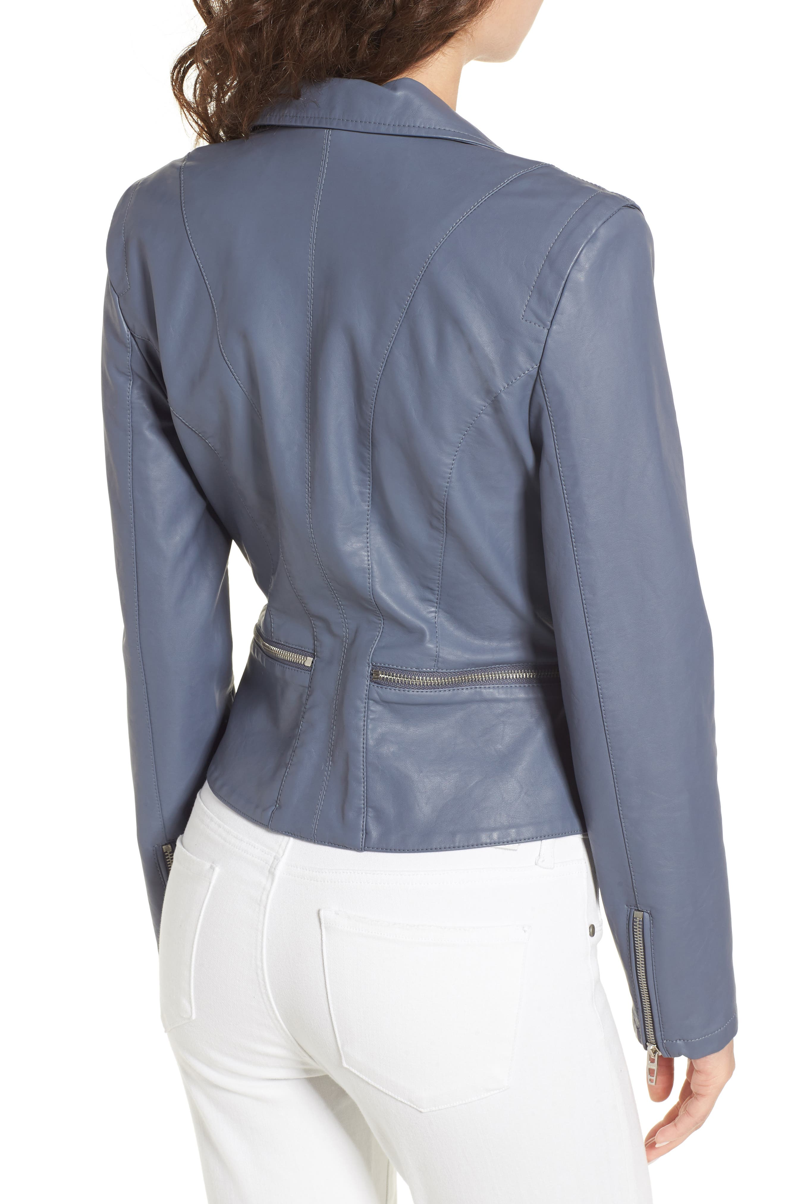 Faux Leather Moto Jacket,                             Alternate thumbnail 2, color,                             GREY GRISAILLE