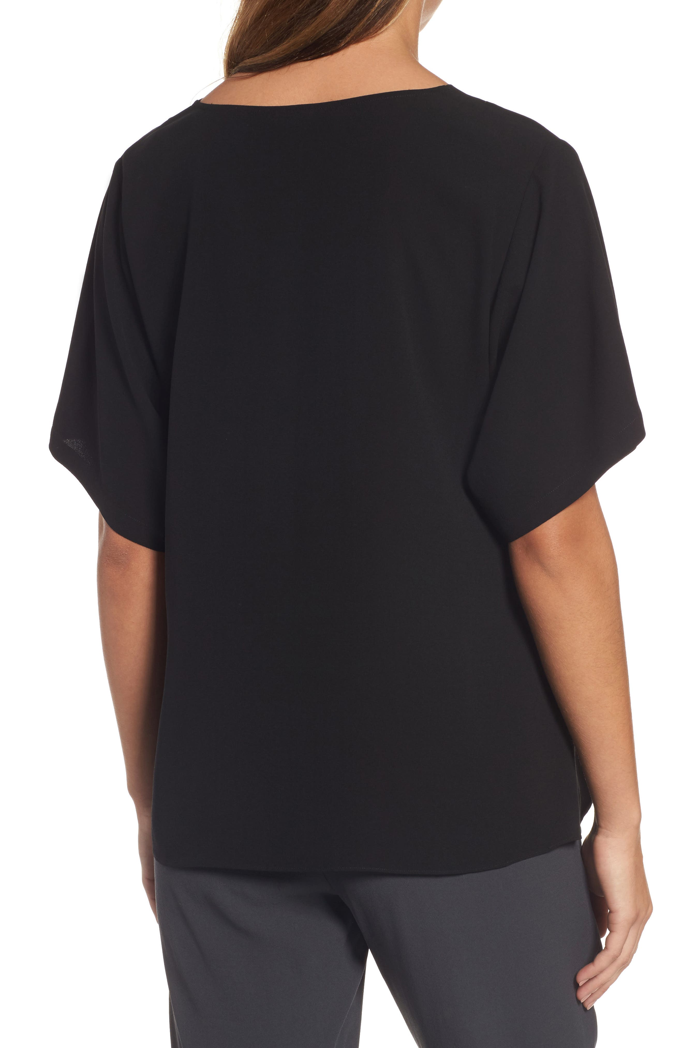 Silk V-Neck Top,                             Alternate thumbnail 2, color,                             001