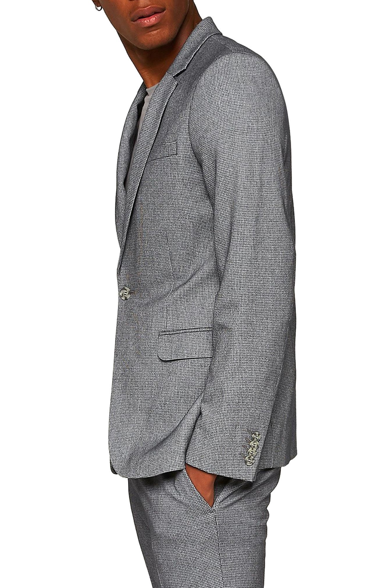 Ultra Skinny Fit Houndstooth Suit Jacket,                             Alternate thumbnail 3, color,                             GREY