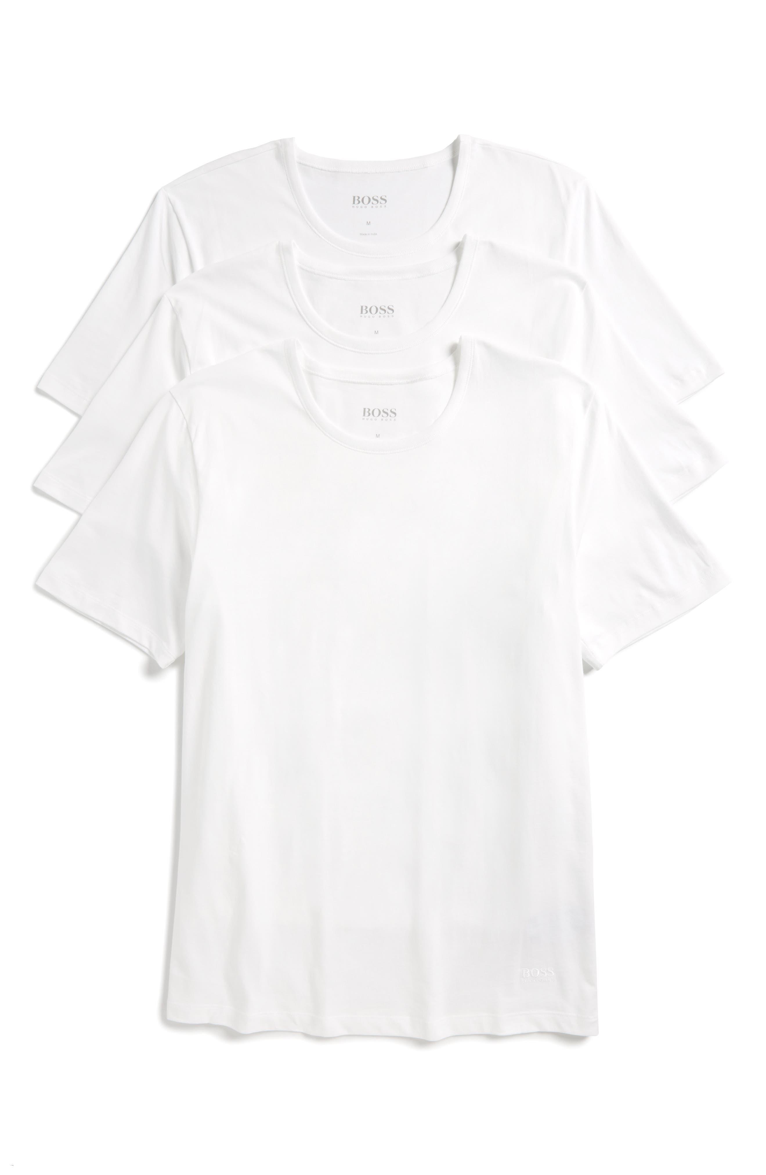 3-Pack Crewneck Cotton T-Shirt,                         Main,                         color, WHITE