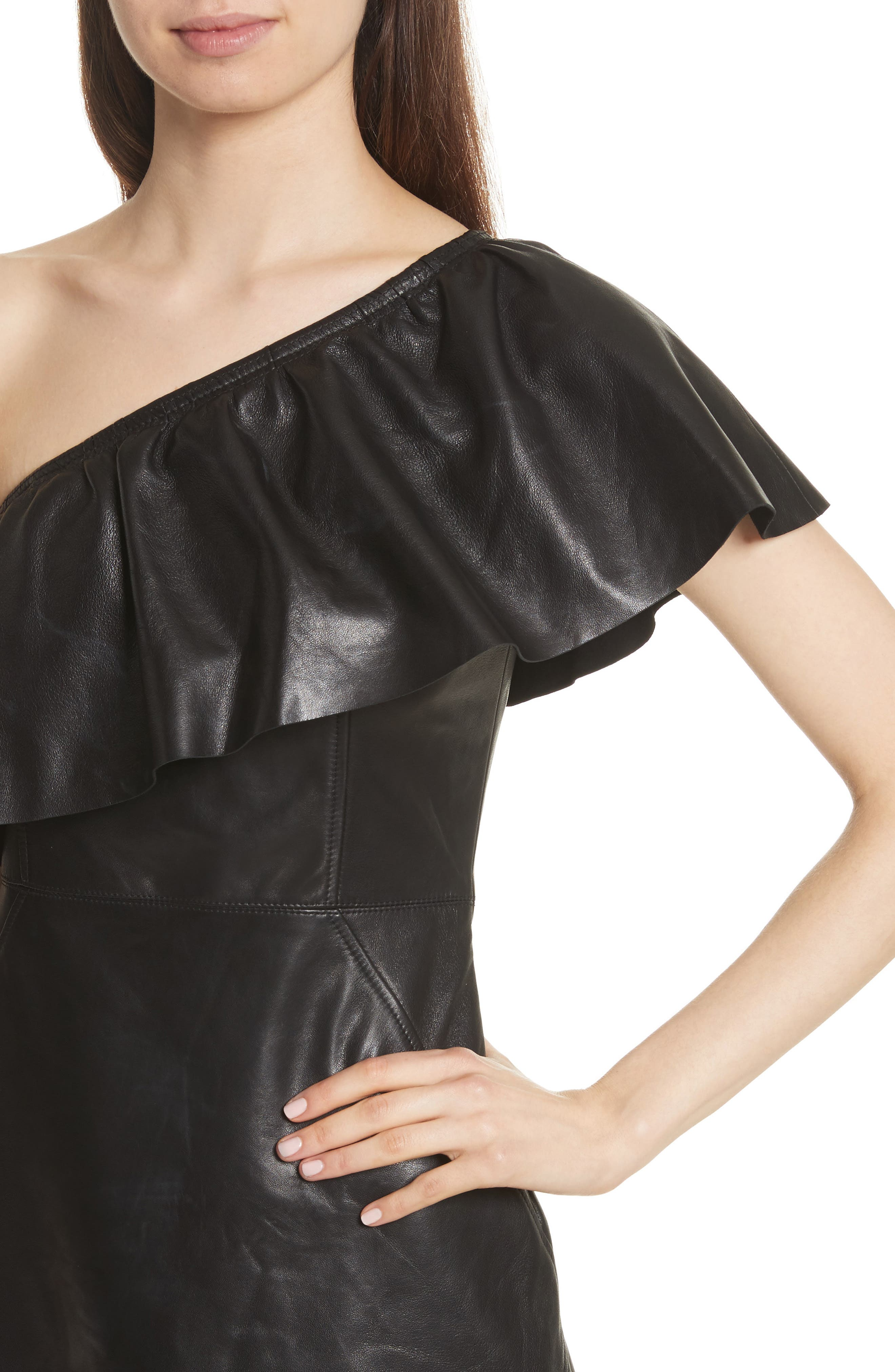 Kahlo Ruffle One-Shoulder Leather Dress,                             Alternate thumbnail 4, color,                             001