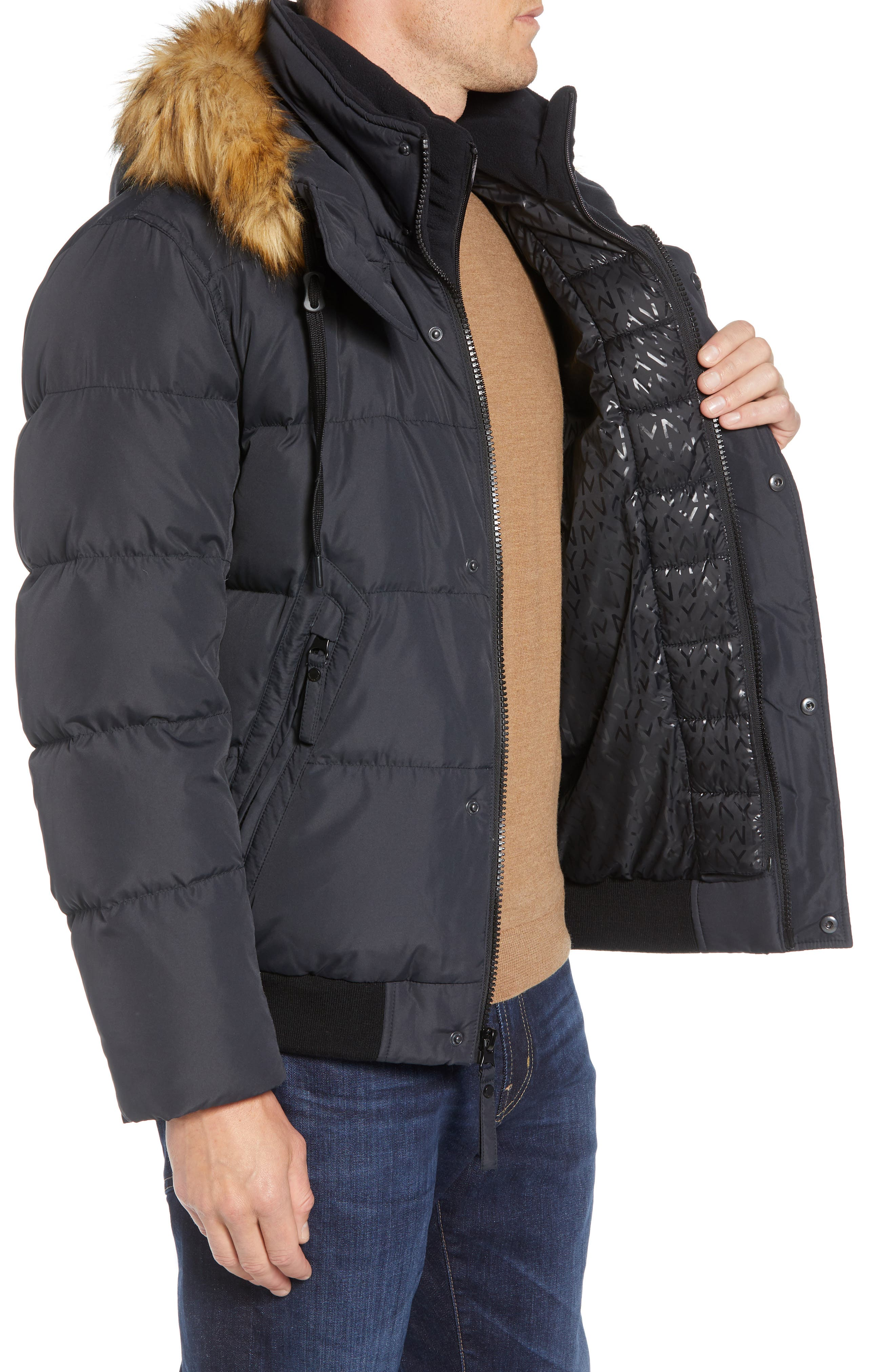 Clermont Insulated Bomber Jacket,                             Alternate thumbnail 4, color,                             BLACK