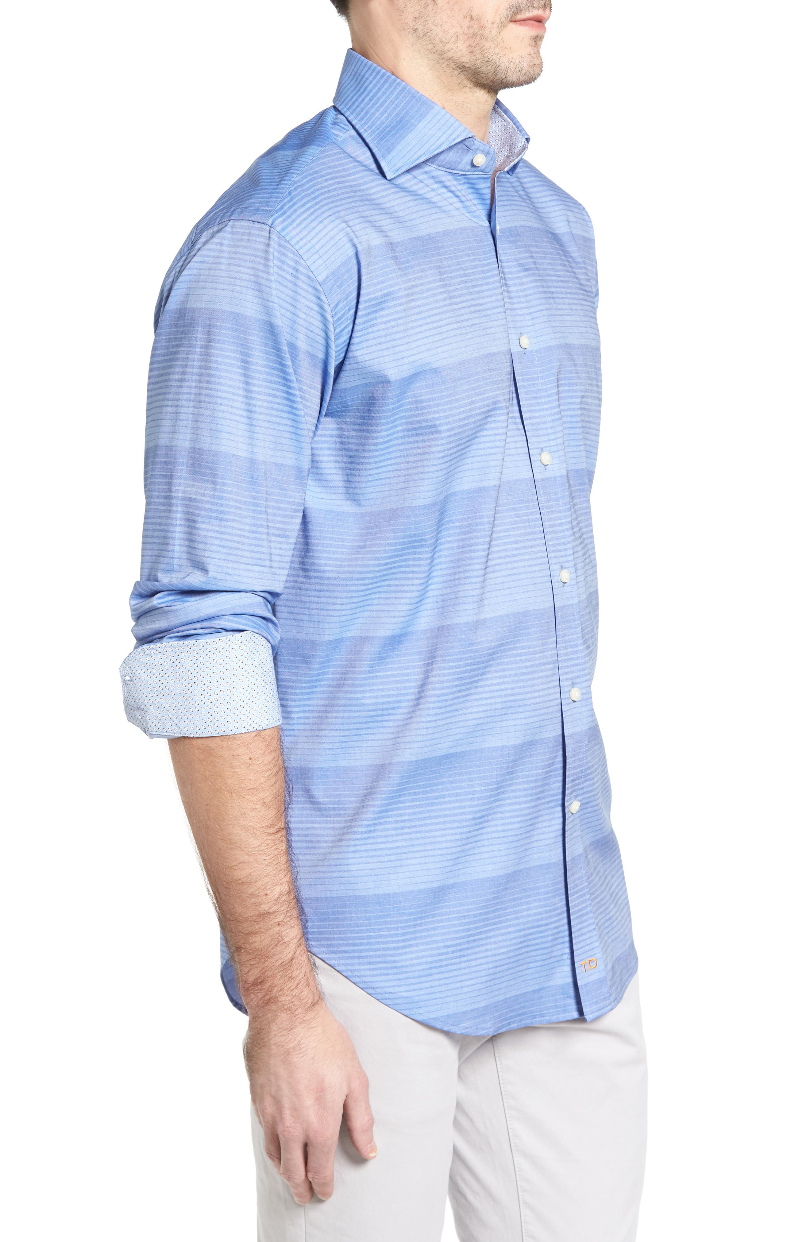 Classic Fit Graduated Stripe Sport Shirt,                             Alternate thumbnail 3, color,