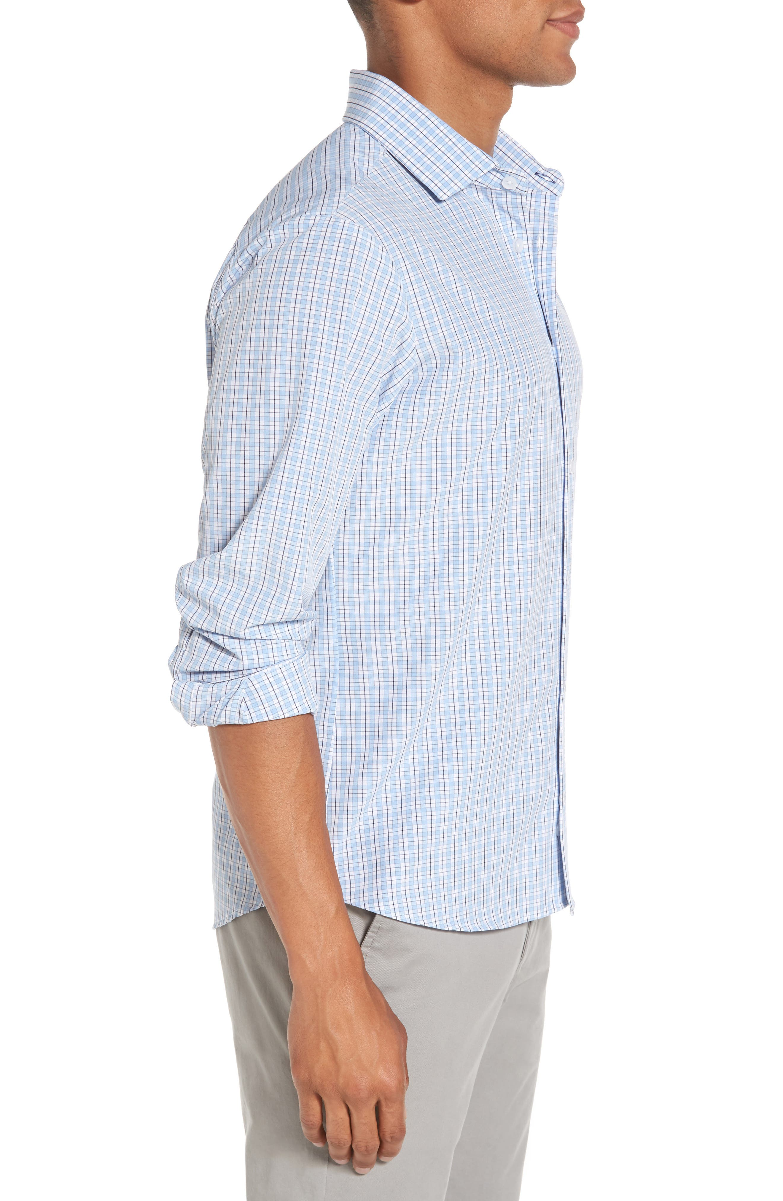 Benson Check Sport Shirt,                             Alternate thumbnail 3, color,                             400