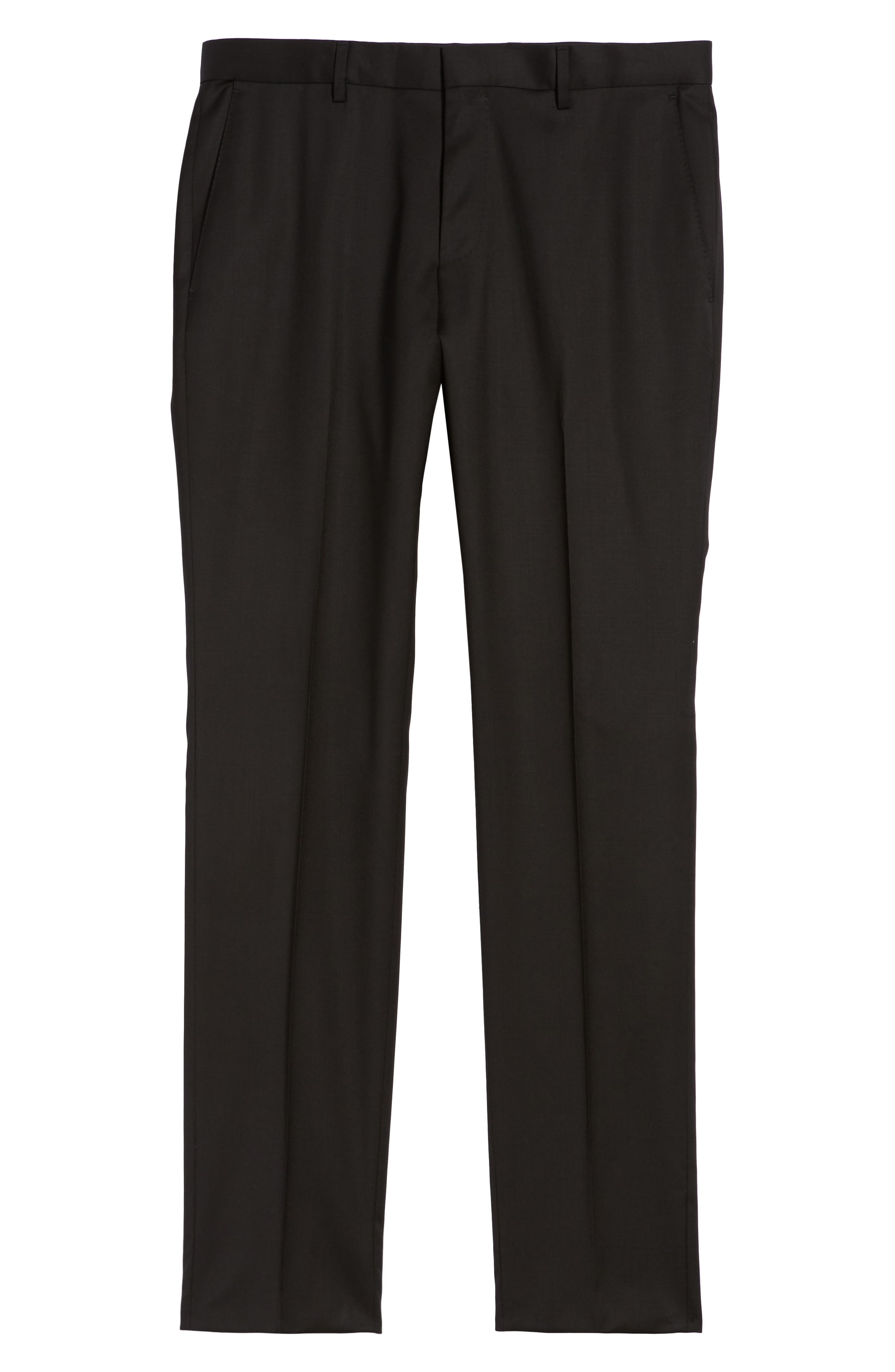 BOSS,                             Gibson CYL Flat Front Solid Wool Trousers,                             Alternate thumbnail 6, color,                             BLACK