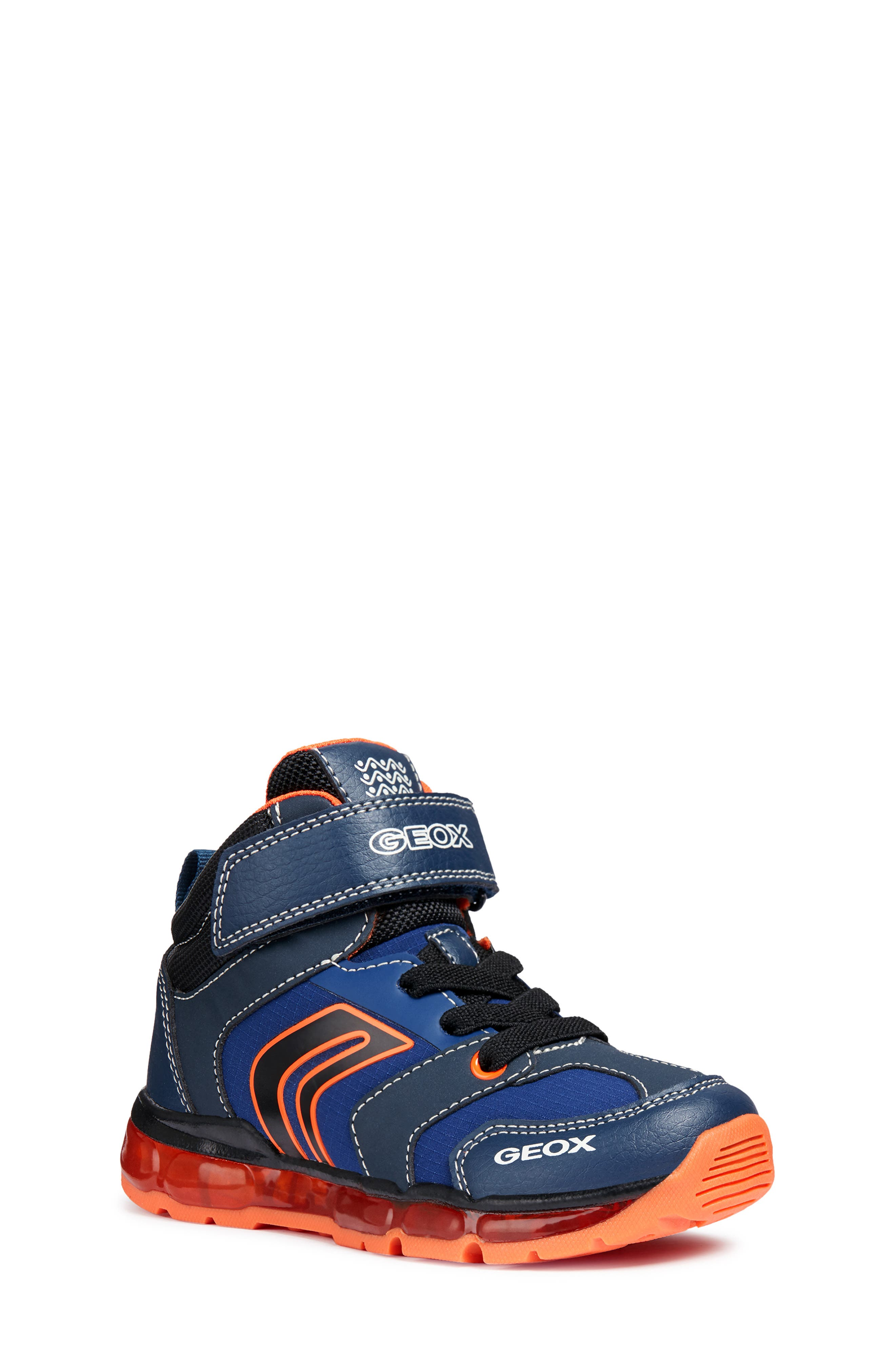Android Light-Up Sneaker,                             Main thumbnail 1, color,                             NAVY/ORANGE
