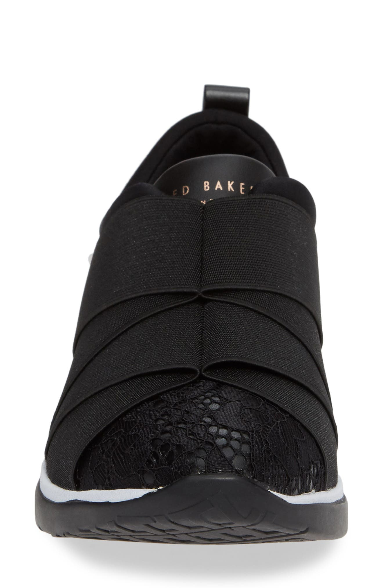 Queanel Sneaker,                             Alternate thumbnail 4, color,                             BLACK FABRIC