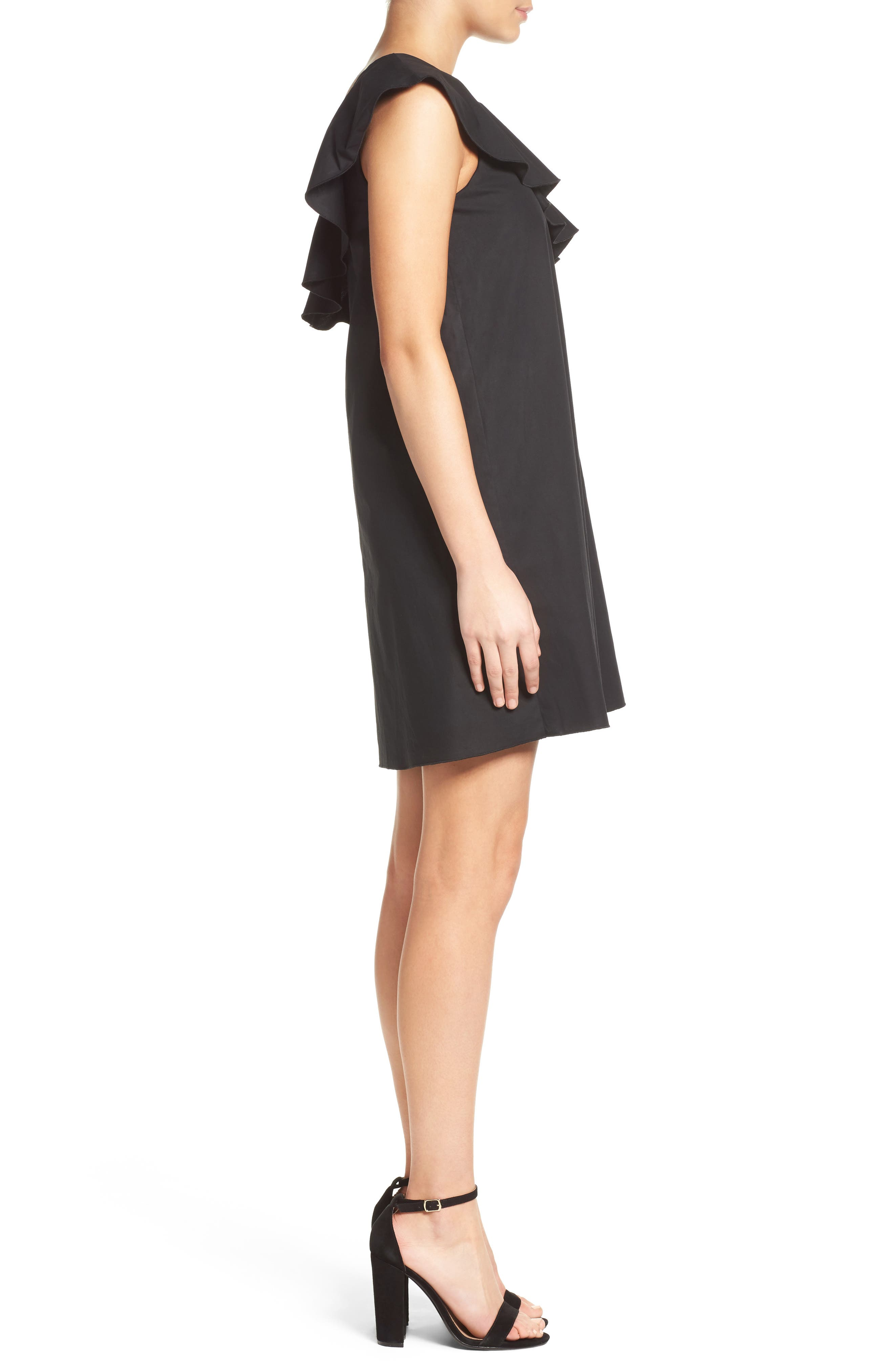 One-Shoulder Ruffle Dress,                             Alternate thumbnail 3, color,                             001