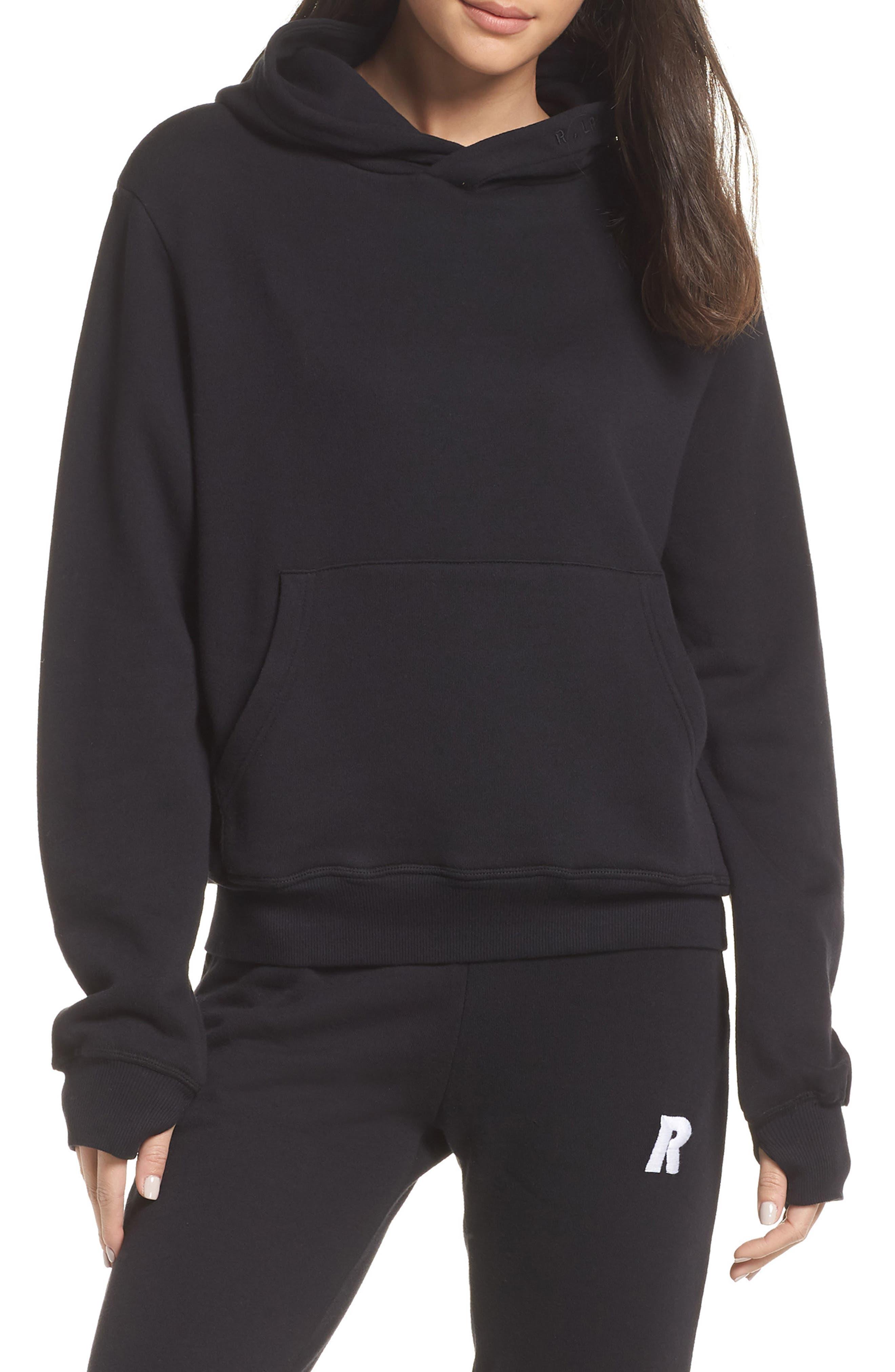 Hoodie Sweatshirt,                             Alternate thumbnail 6, color,                             BLACK