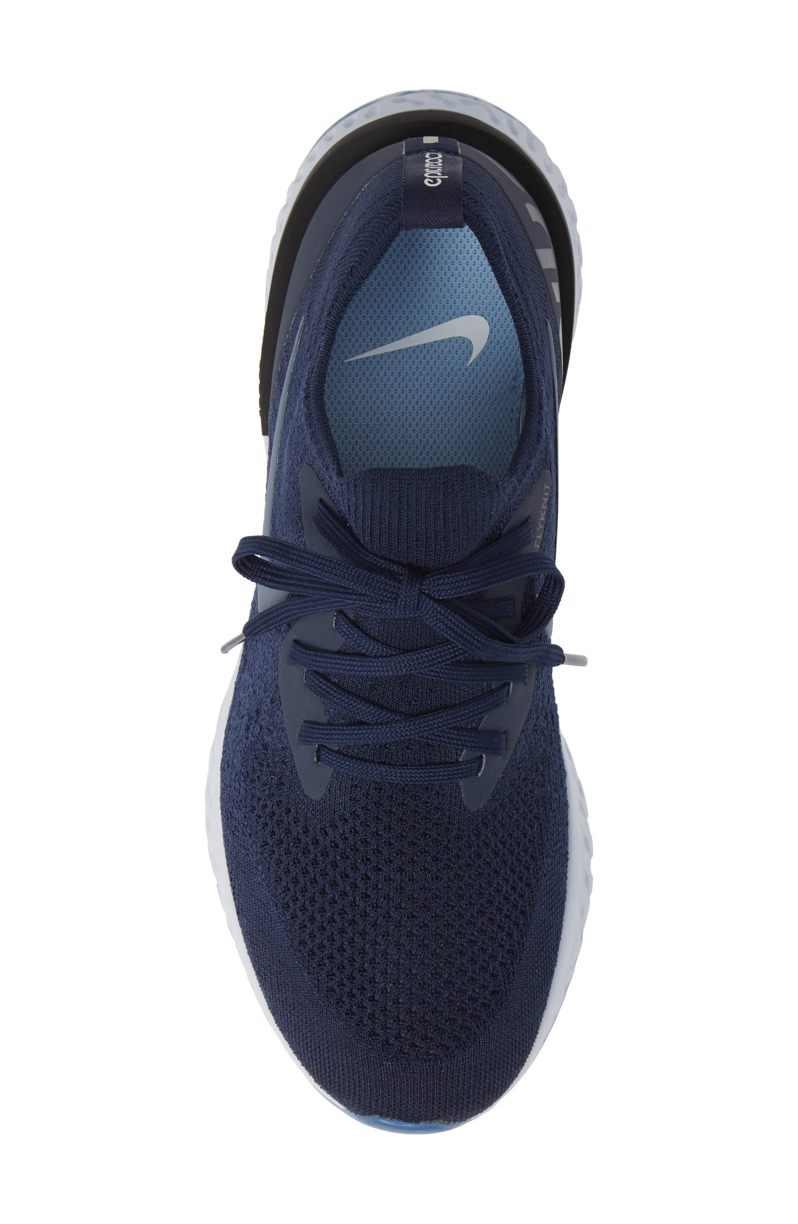 Epic React Flyknit Running Shoe,                             Alternate thumbnail 5, color,                             COLLEGE NAVY/ BLUE/ GREY