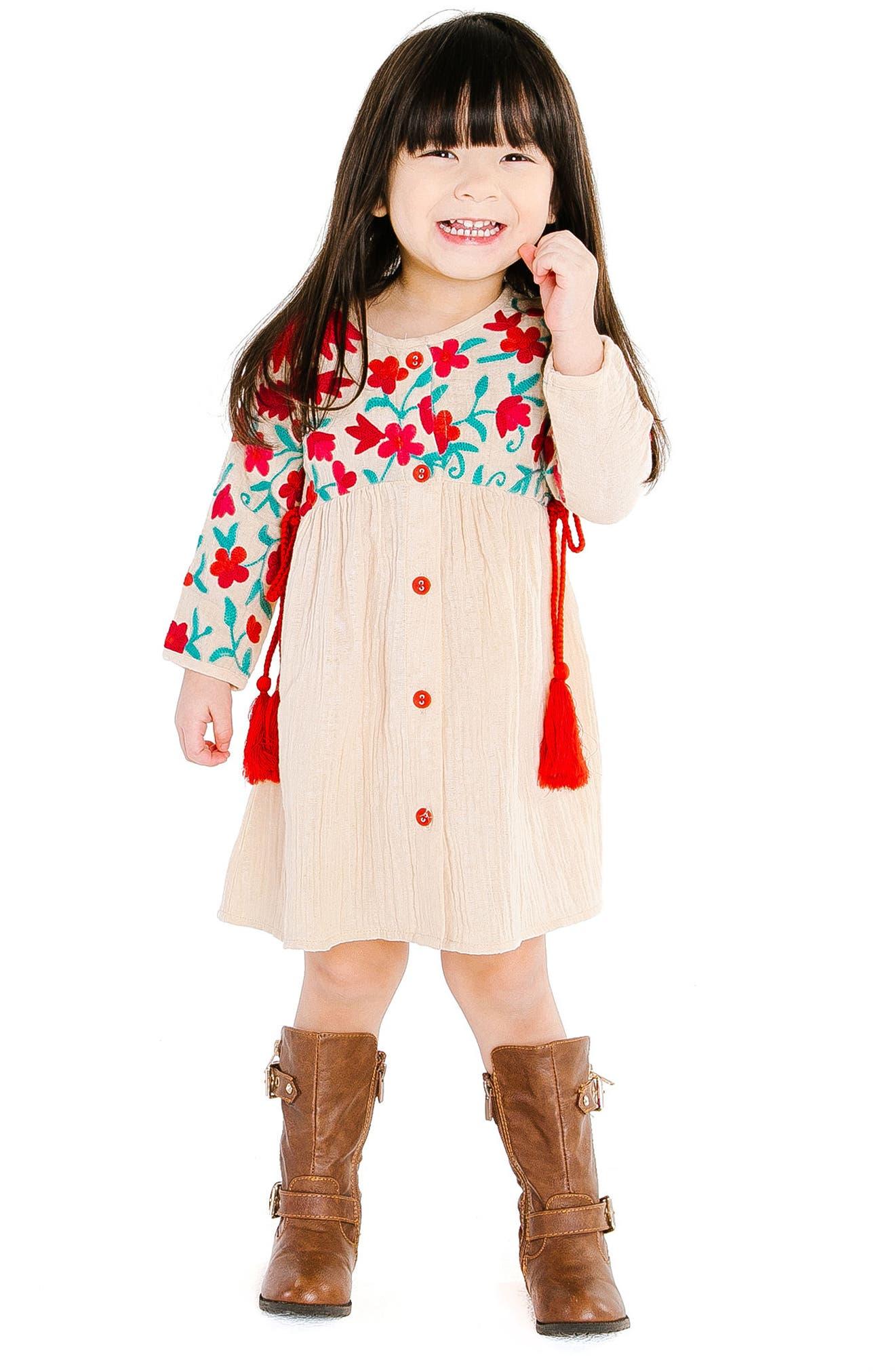Organic Cotton Aasha Dress,                             Alternate thumbnail 3, color,                             SAND