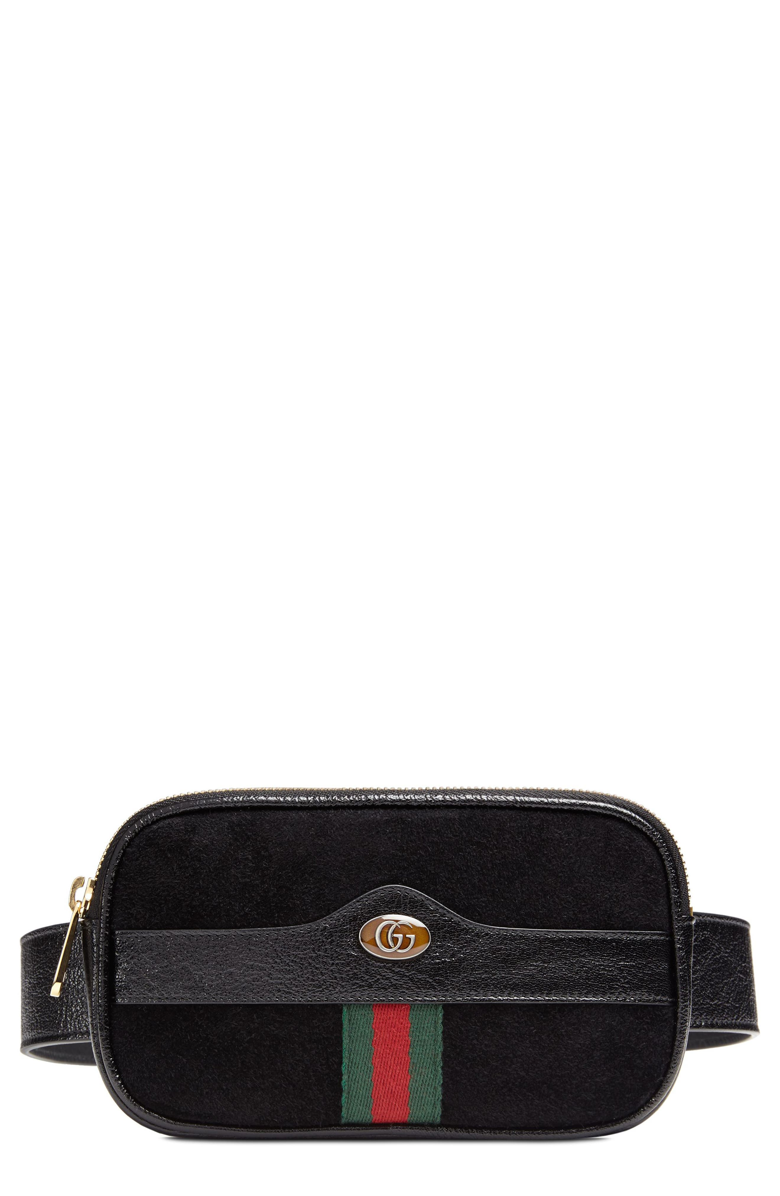 Ophidia Suede & Leather Belt Bag,                         Main,                         color, NERO/ VERT/ RED