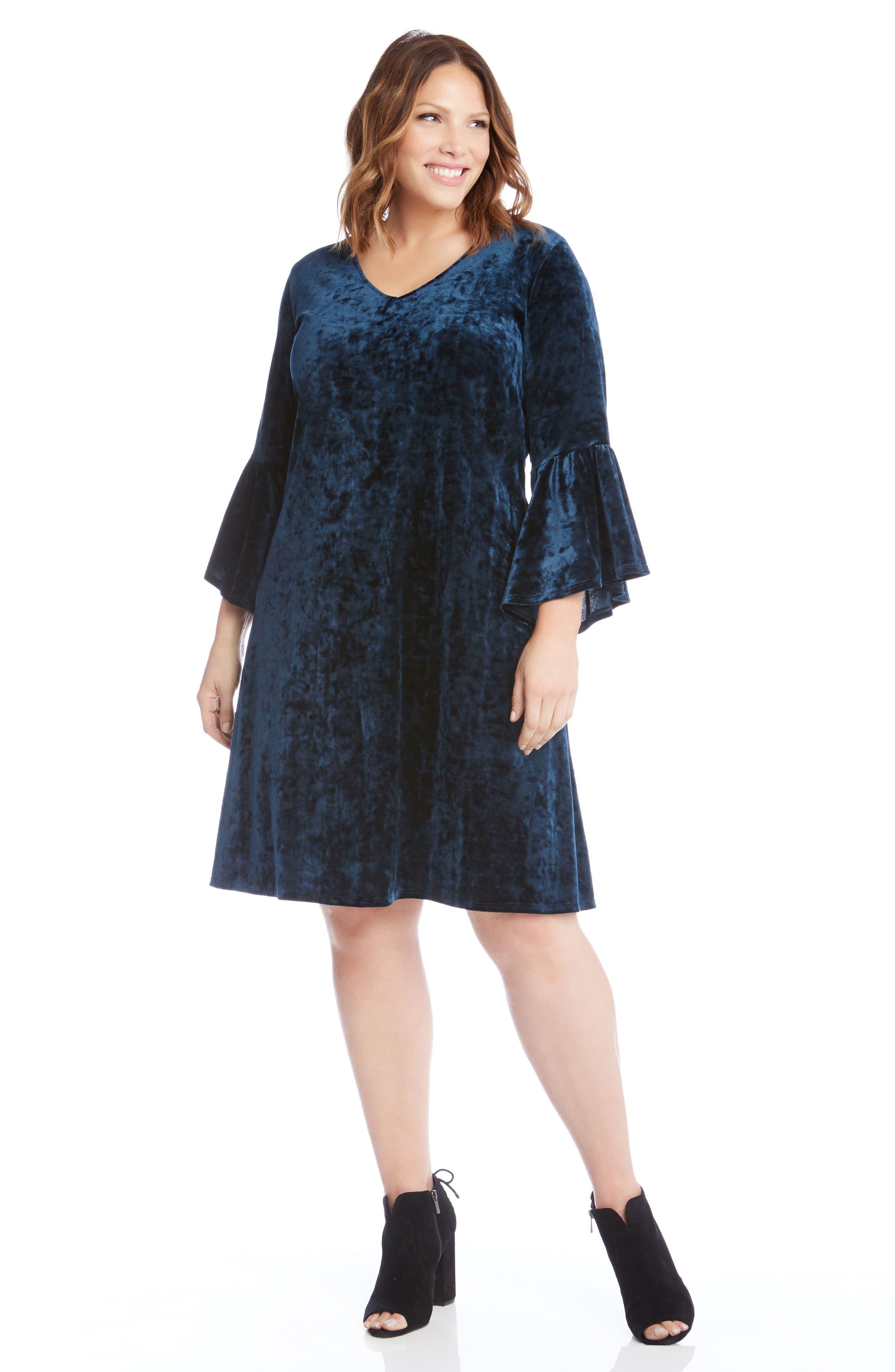 Bell Sleeve Velvet Dress,                             Alternate thumbnail 5, color,                             TEAL