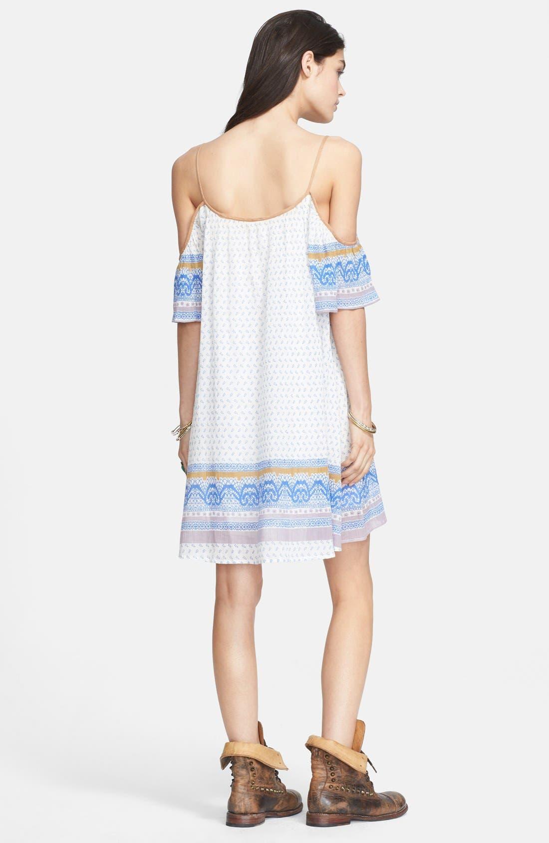 Cold Shoulder Cotton Peasant Dress,                             Alternate thumbnail 4, color,