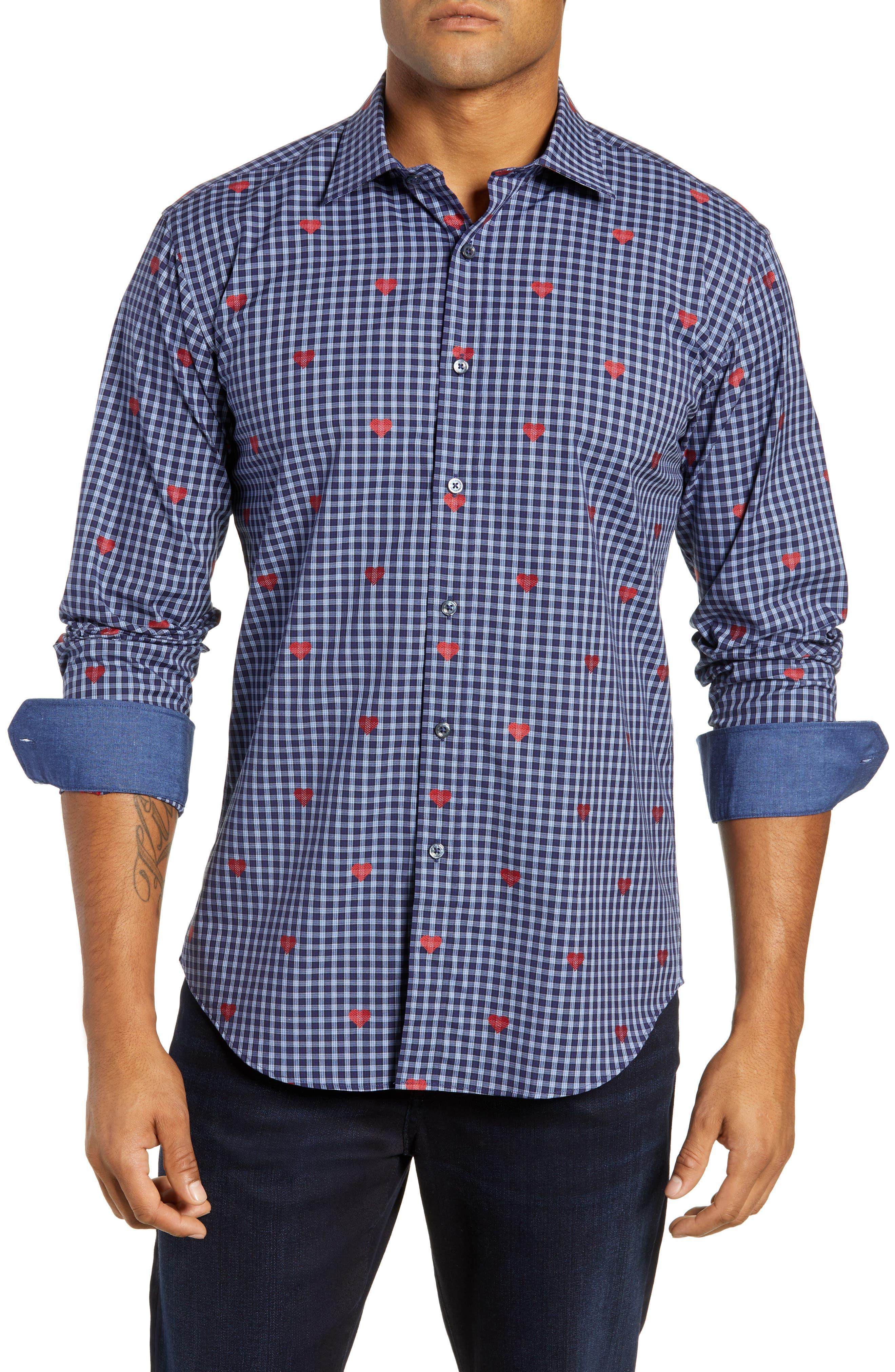 Shaped Fit Sport Shirt,                             Main thumbnail 1, color,                             NAVY