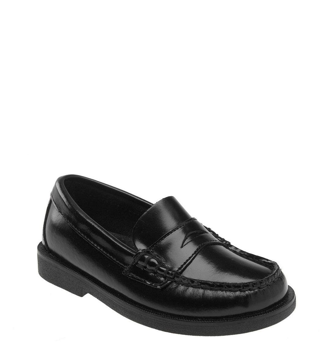 SPERRY KIDS,                             'Colton' Loafer,                             Main thumbnail 1, color,                             BLACK LEATHER