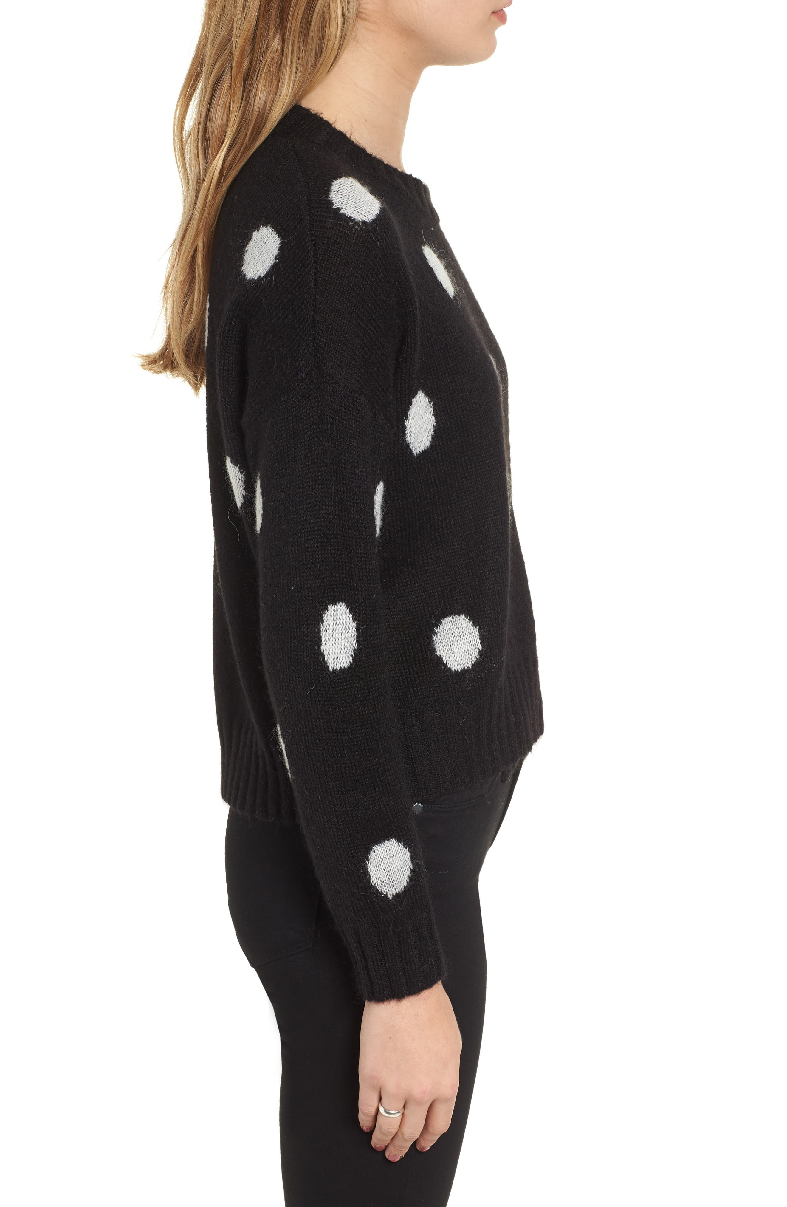 Perci Sweater,                             Alternate thumbnail 3, color,                             BLACK/ IVORY POLKA DOT
