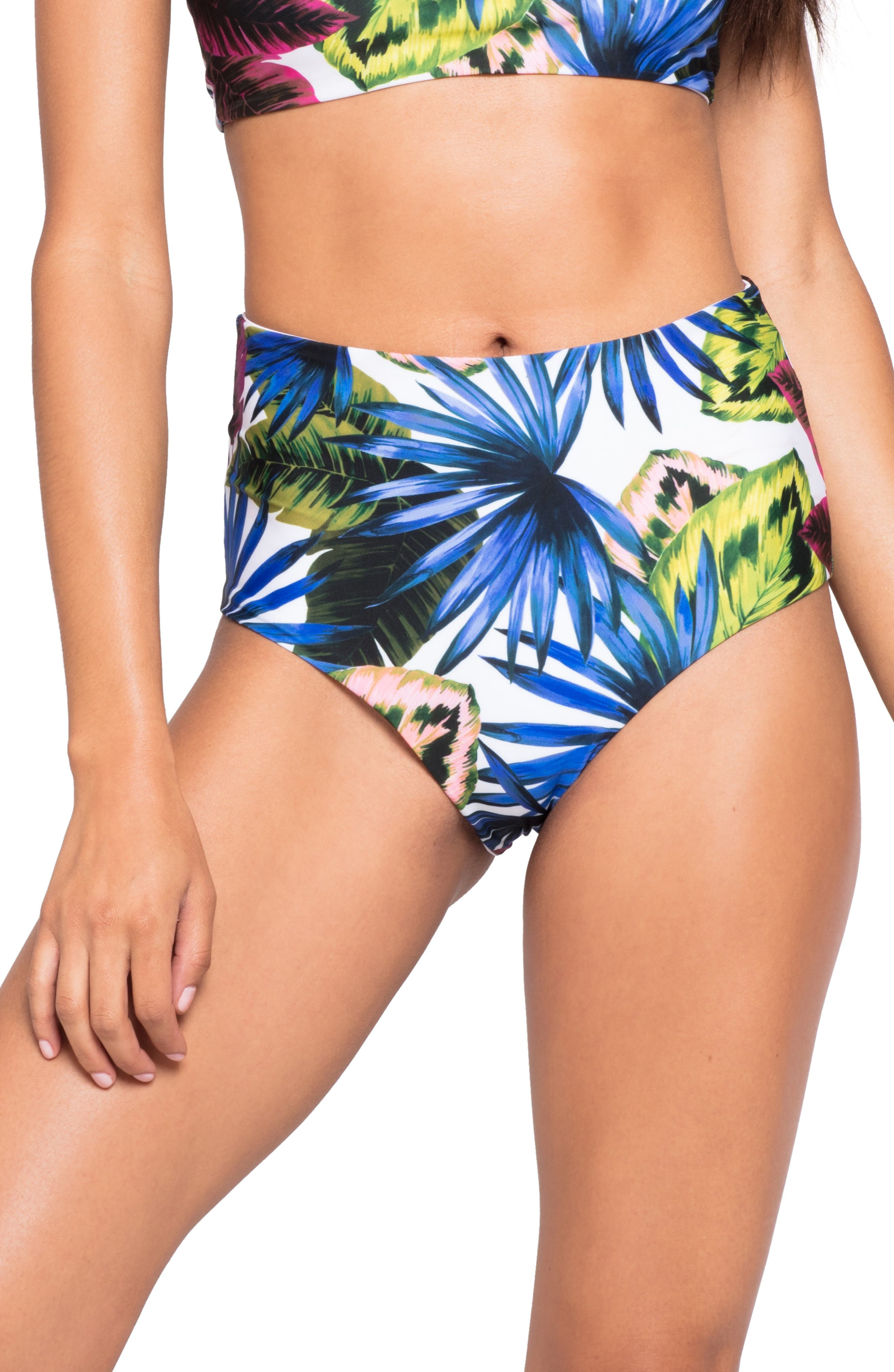 Portia High Waist Bikini Bottoms,                         Main,                         color, ELECTRIC PALM