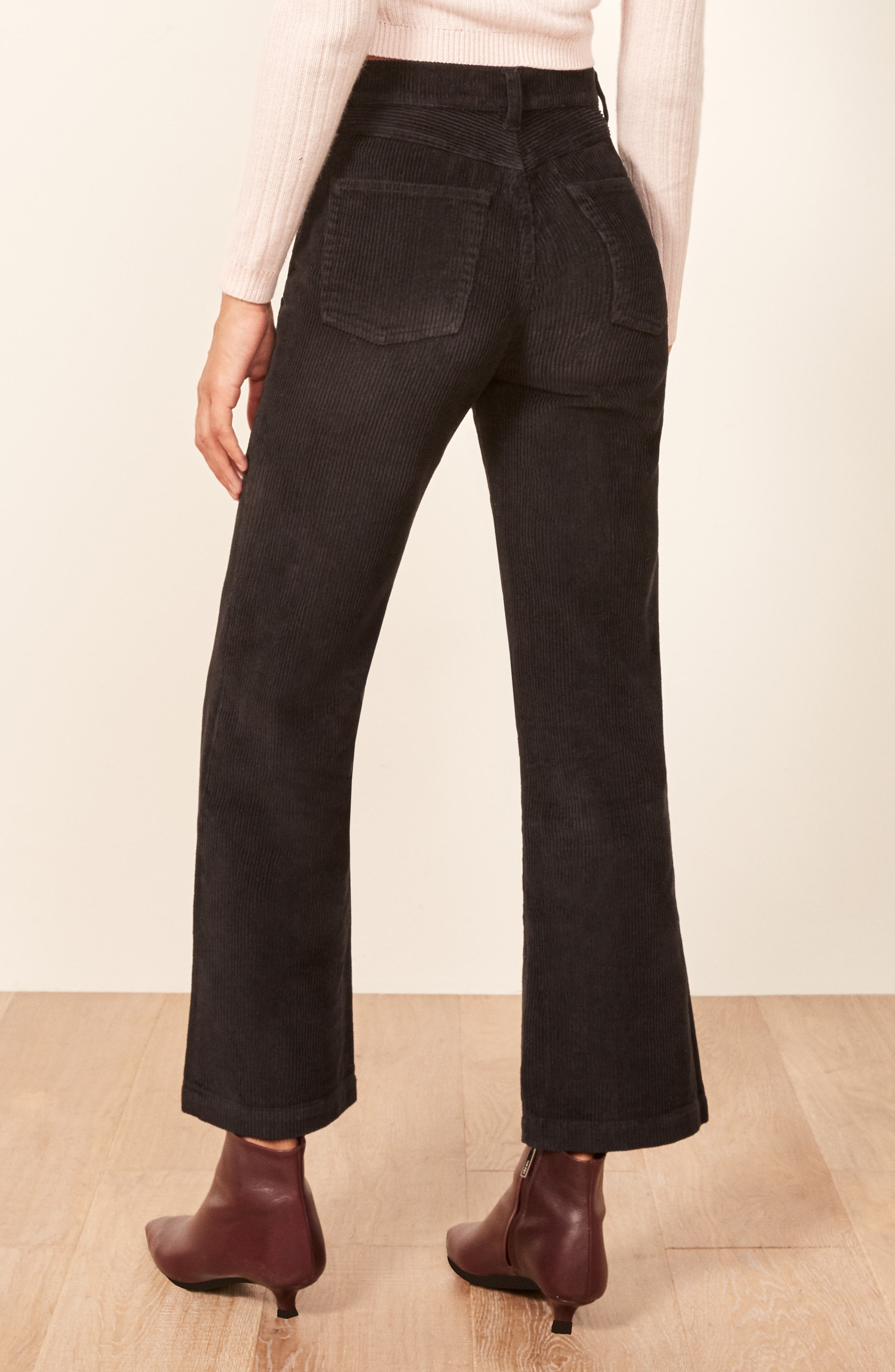 Austin Button Fly Corduroy Pants,                             Alternate thumbnail 3, color,                             BLACK