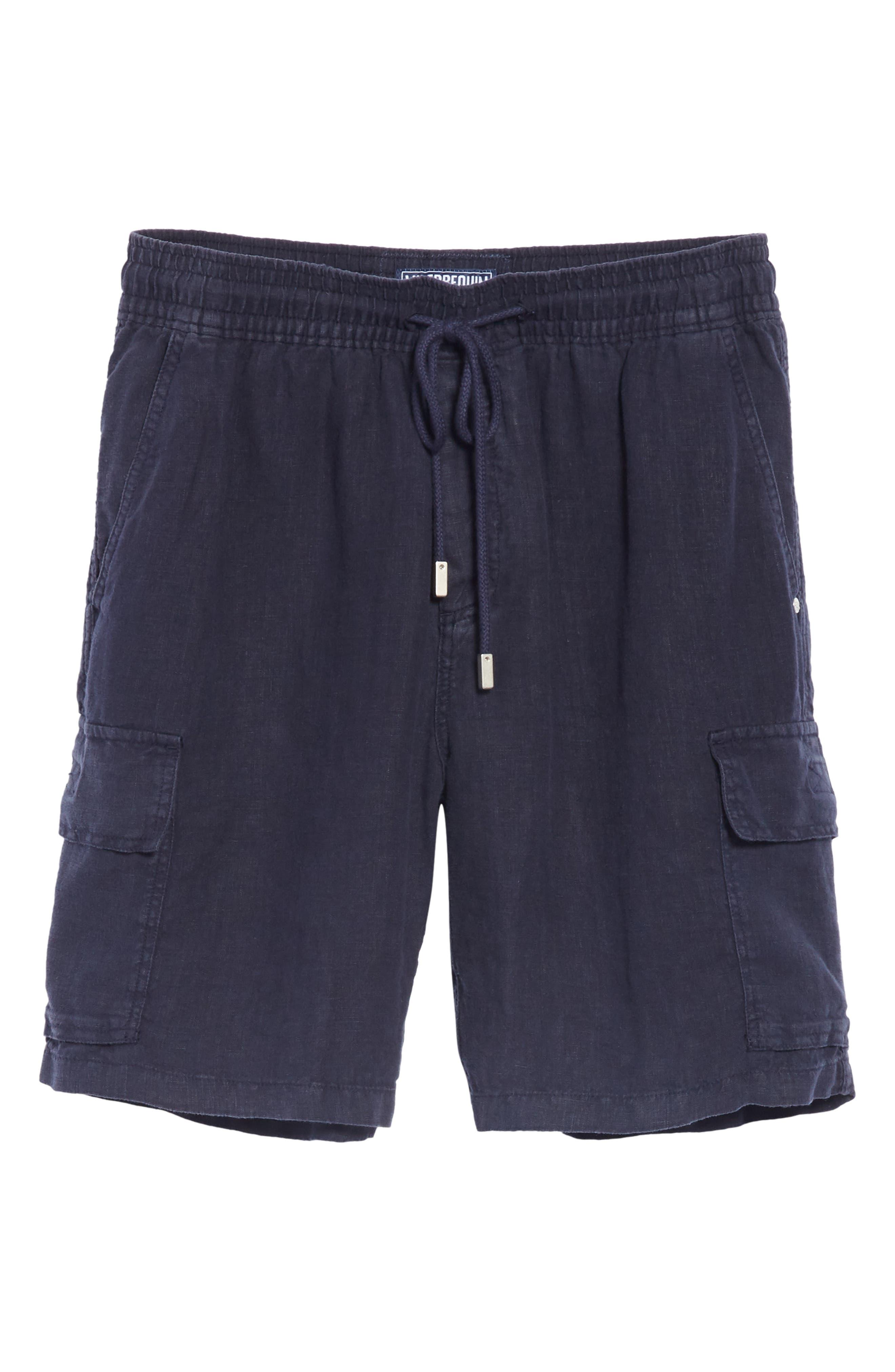 Vilbrequin Linen Cargo Shorts,                             Alternate thumbnail 6, color,                             BLUE
