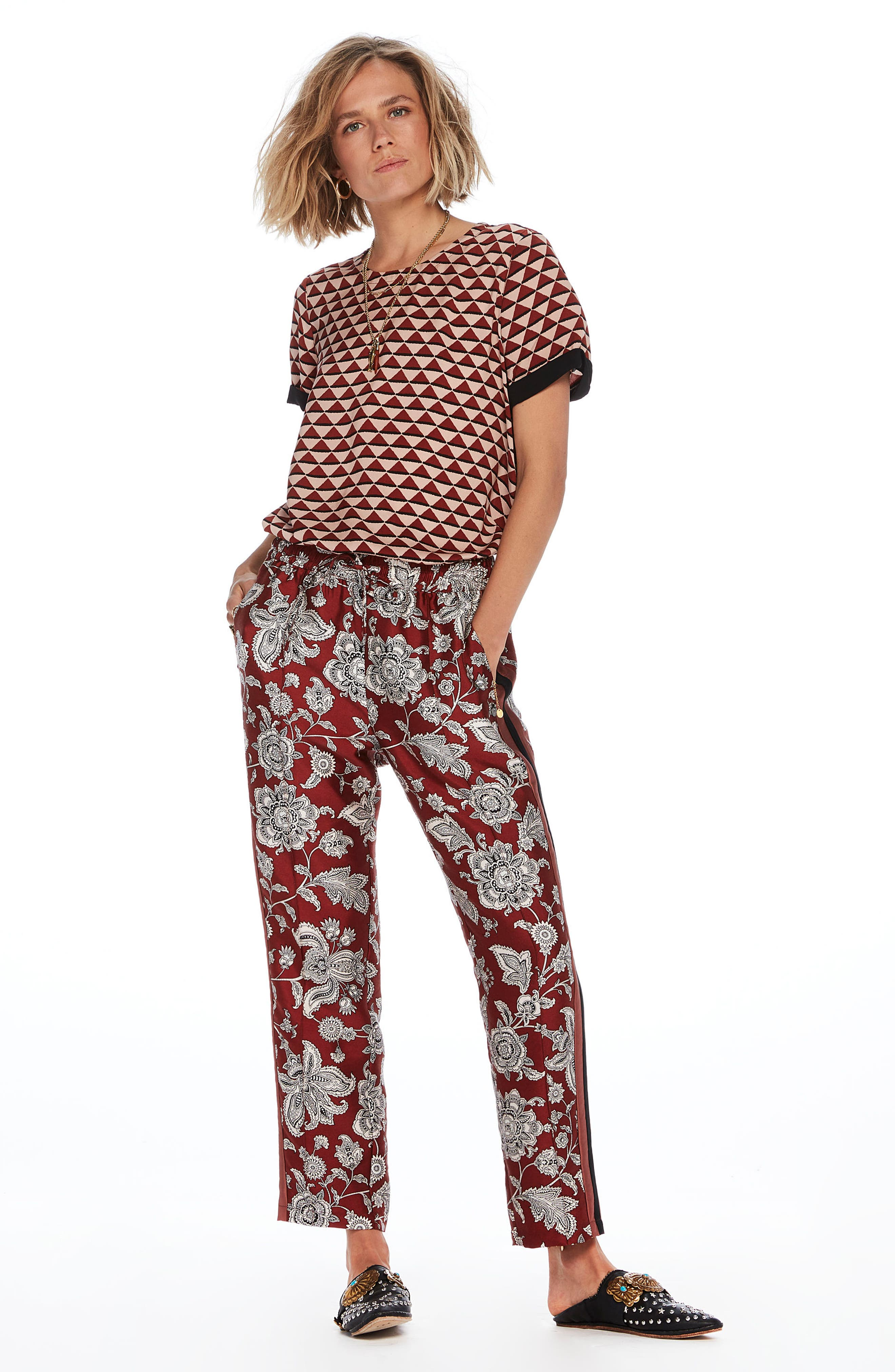 Print Satin Pants,                             Alternate thumbnail 5, color,