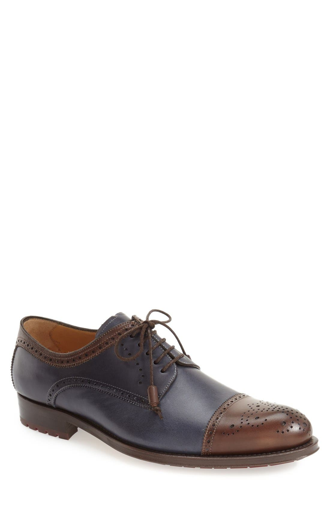 'Carlino' Cap Toe Oxford,                             Main thumbnail 1, color,                             BROWN/ BLUE