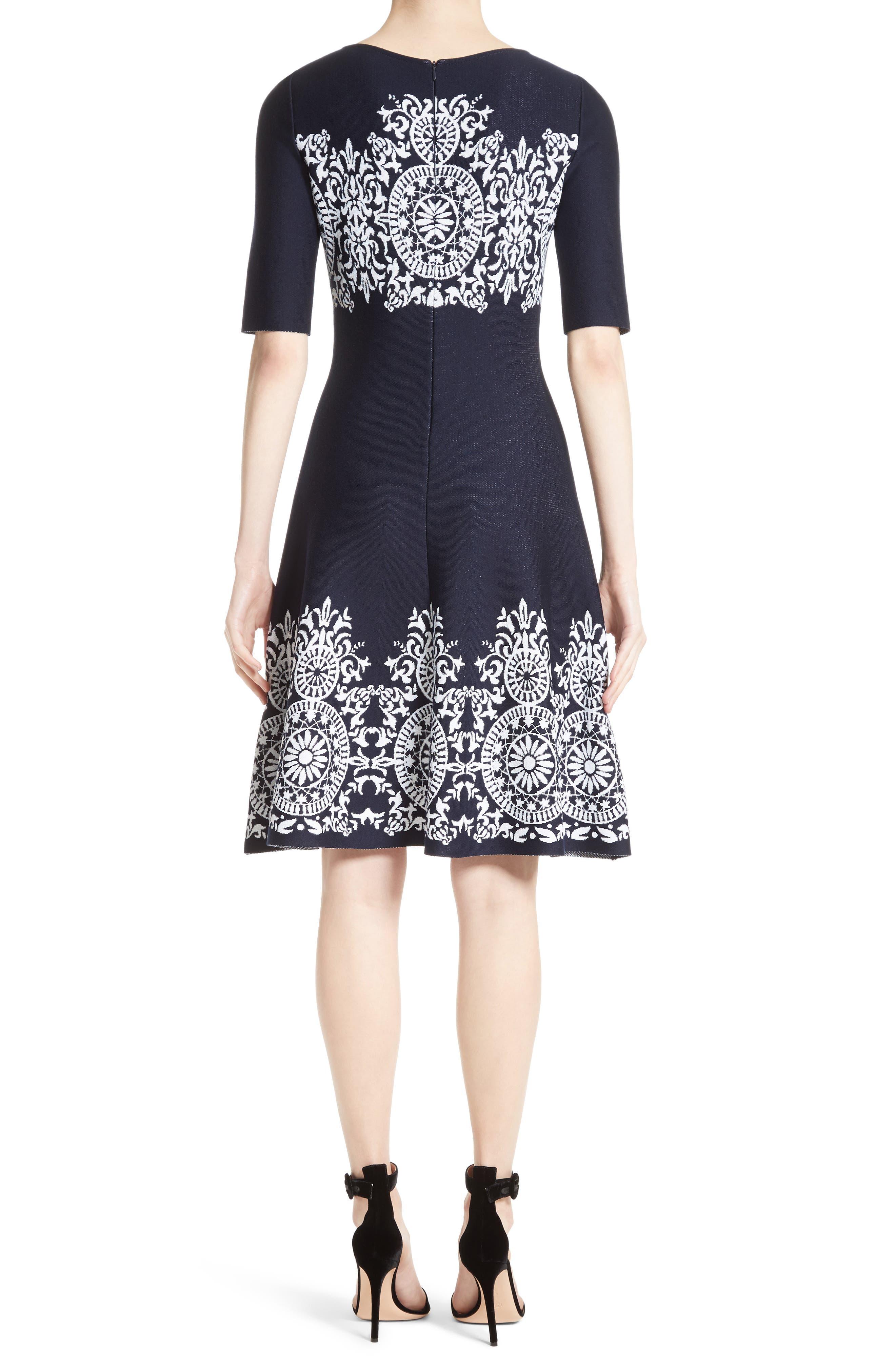 Nellore Jacquard Knit Fit & Flare Dress,                             Alternate thumbnail 2, color,                             410