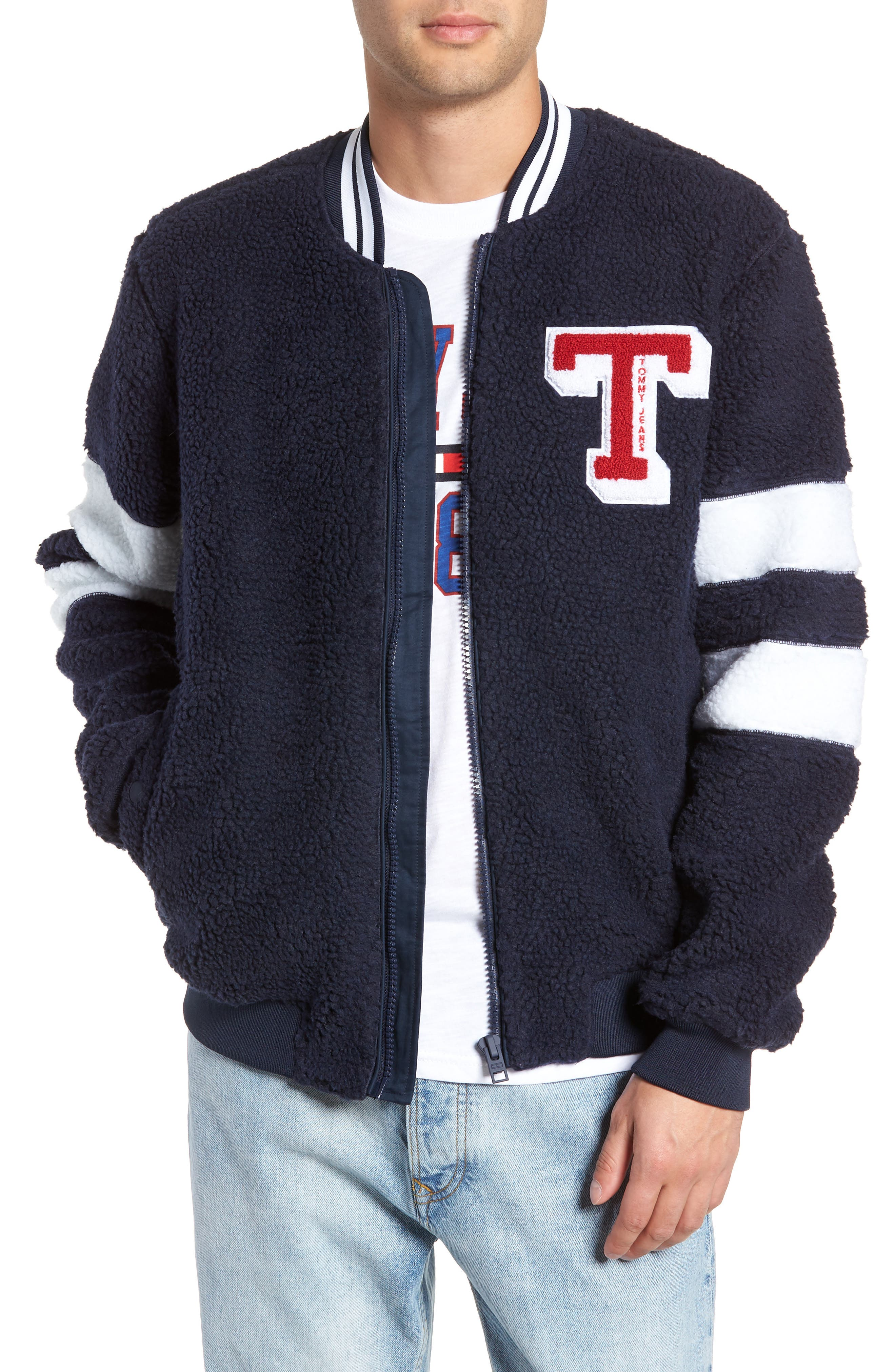 TOMMY JEANS,                             TJM Teddy Bomber Jacket,                             Main thumbnail 1, color,                             400