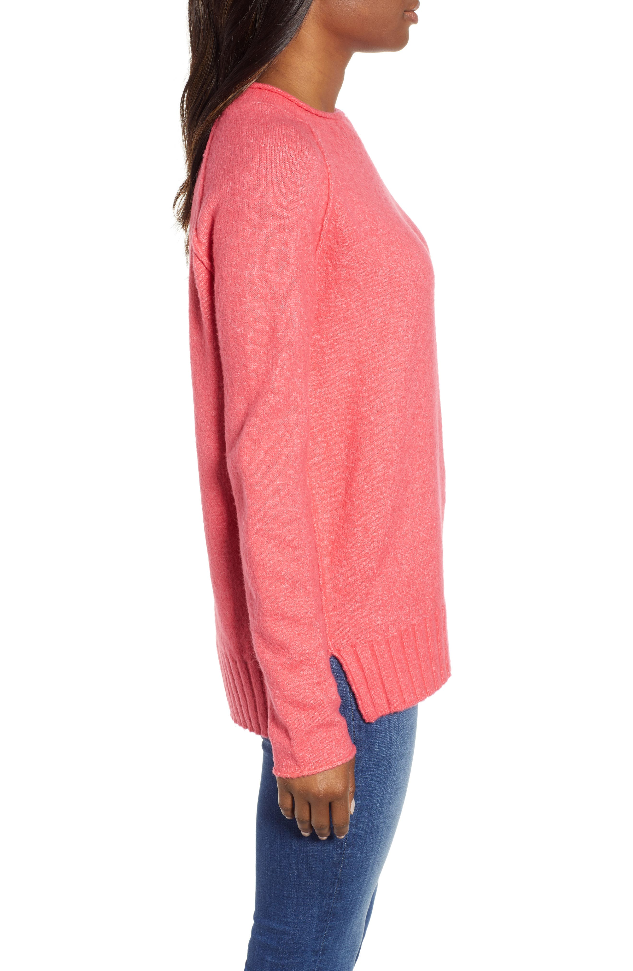 Cozy Crewneck Sweater,                             Alternate thumbnail 3, color,                             PINK HONEY