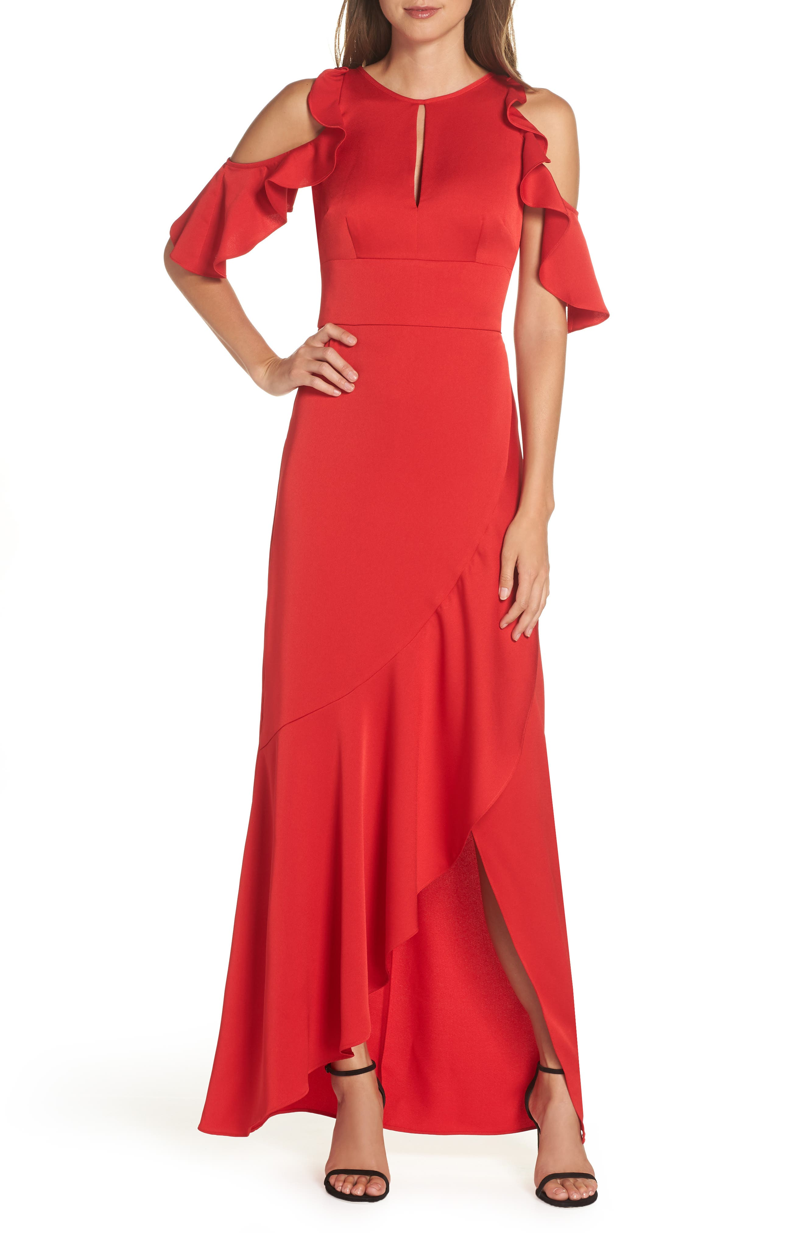 Ruffle Cold Shoulder Gown,                             Main thumbnail 1, color,                             RED