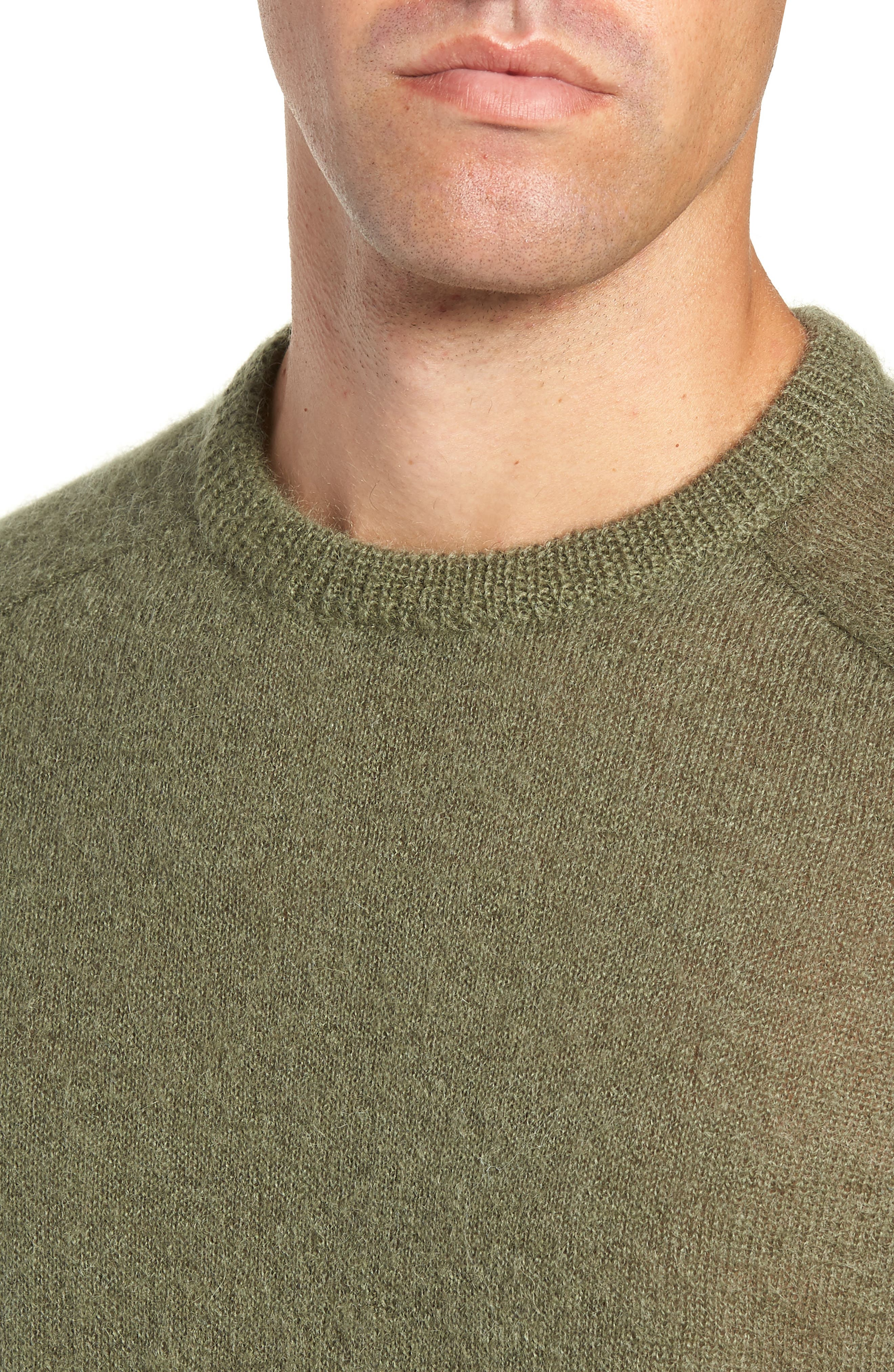 Mohair Blend Crewneck Sweater,                             Alternate thumbnail 4, color,                             DARK OLIVE