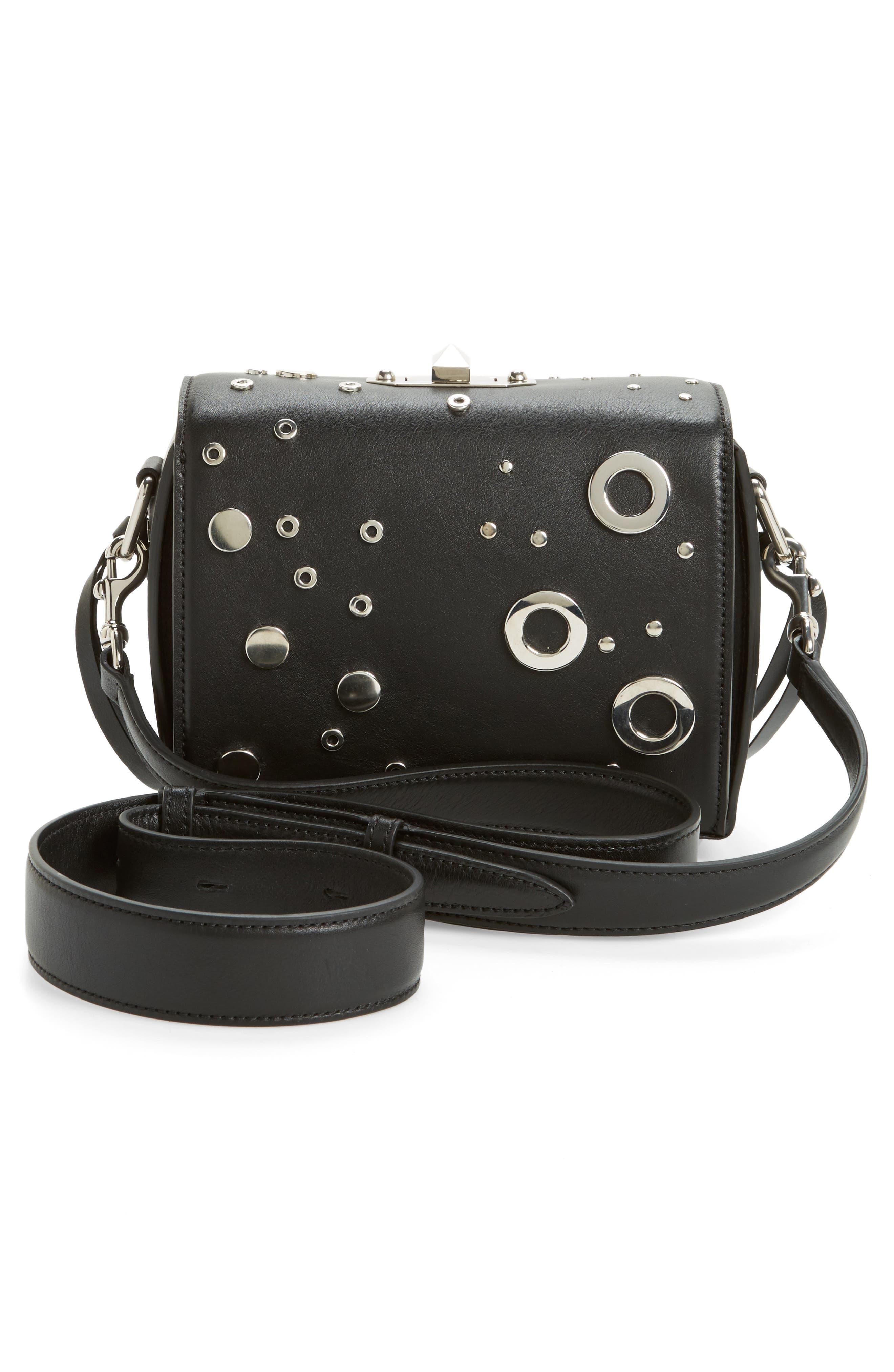 Grommet & Stud Calfskin Leather Box Bag,                             Alternate thumbnail 3, color,                             001