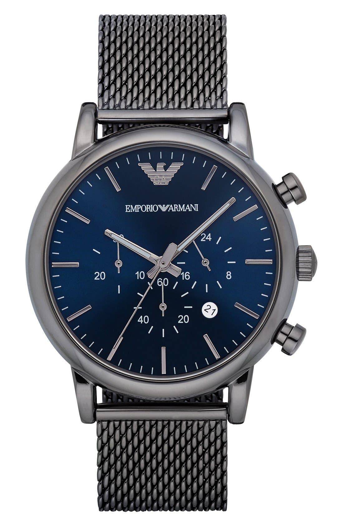 Chronograph Mesh Strap Watch, 46mm,                             Main thumbnail 1, color,                             GUNMETAL/ NAVY BLUE