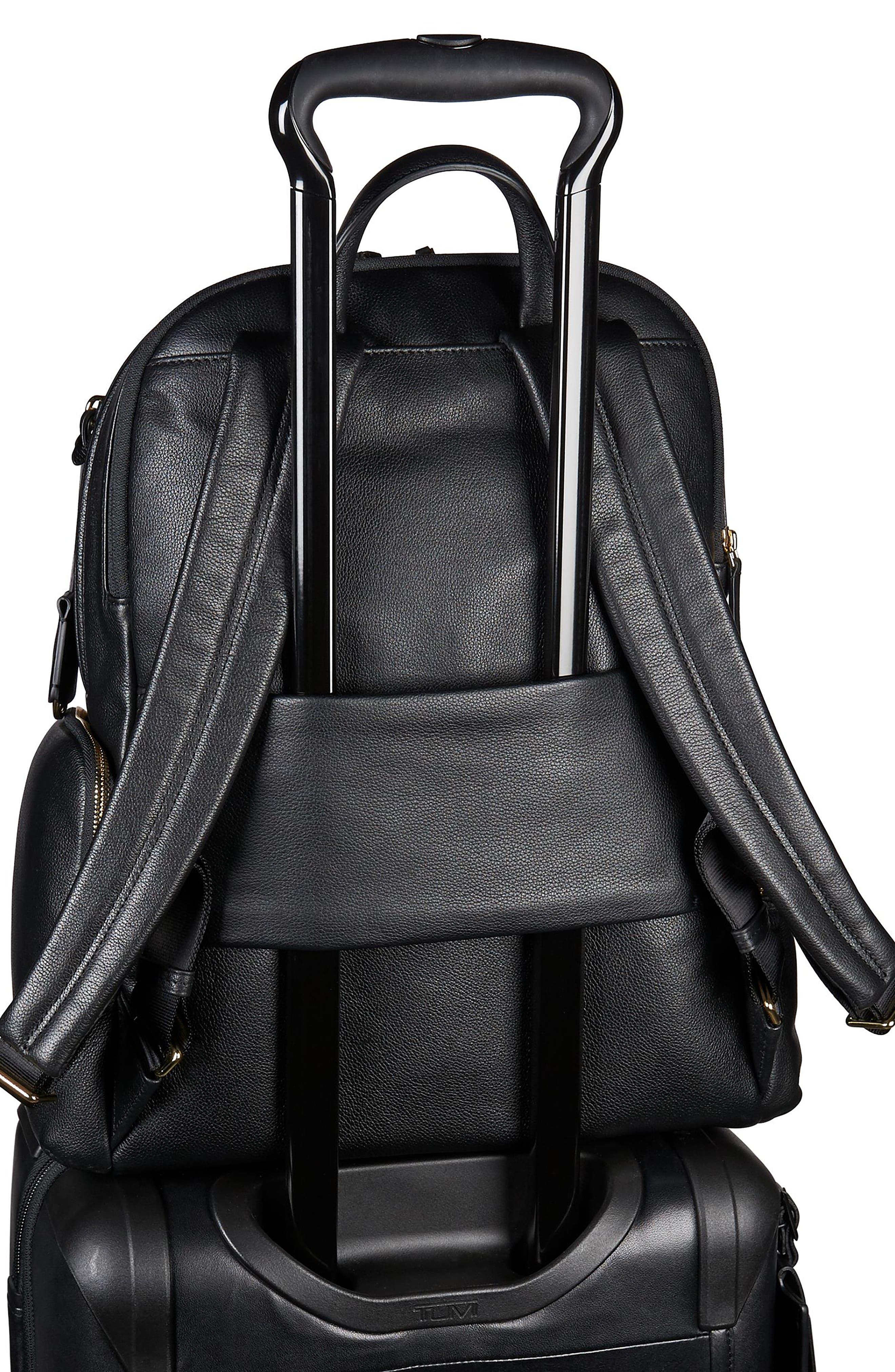 Voyageur Carson Leather Backpack,                             Alternate thumbnail 6, color,                             BLACK