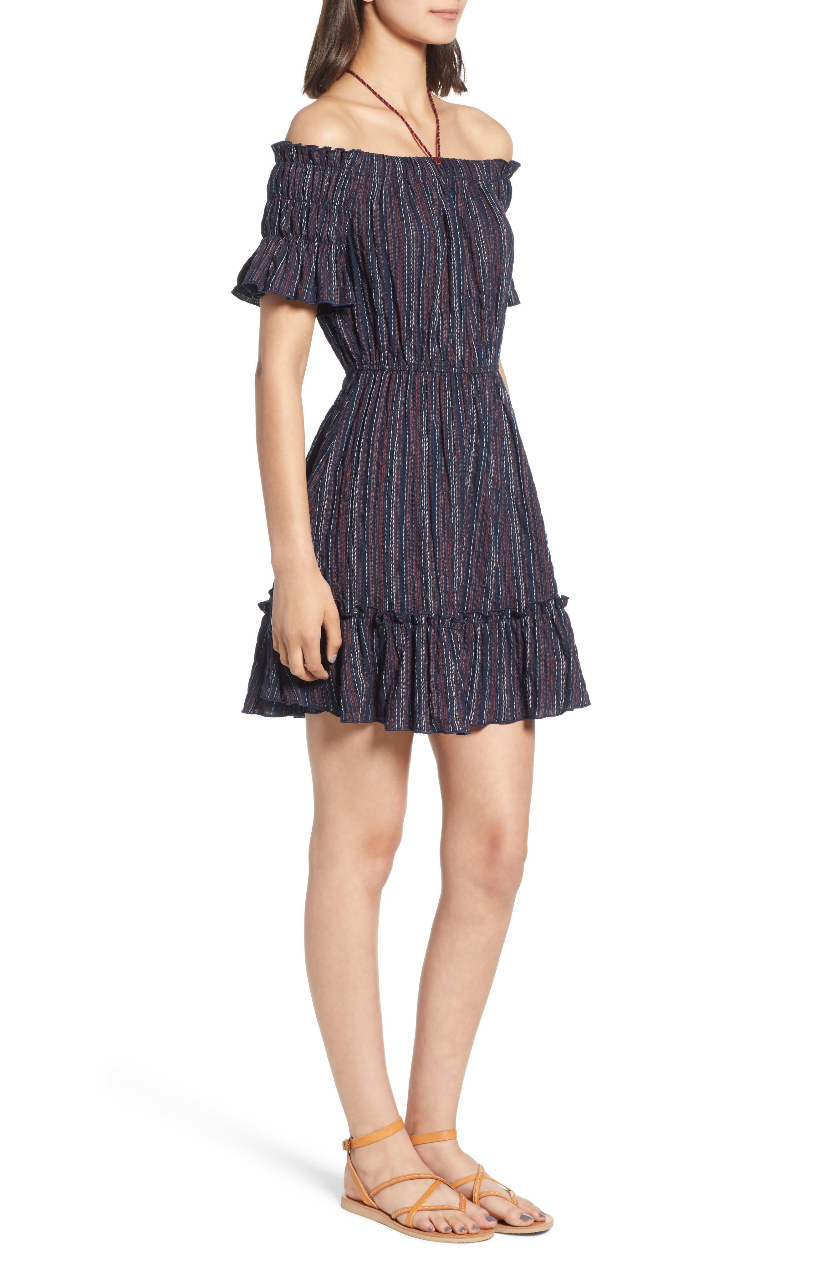 Stripe Off the Shoulder Dress,                             Alternate thumbnail 3, color,                             411